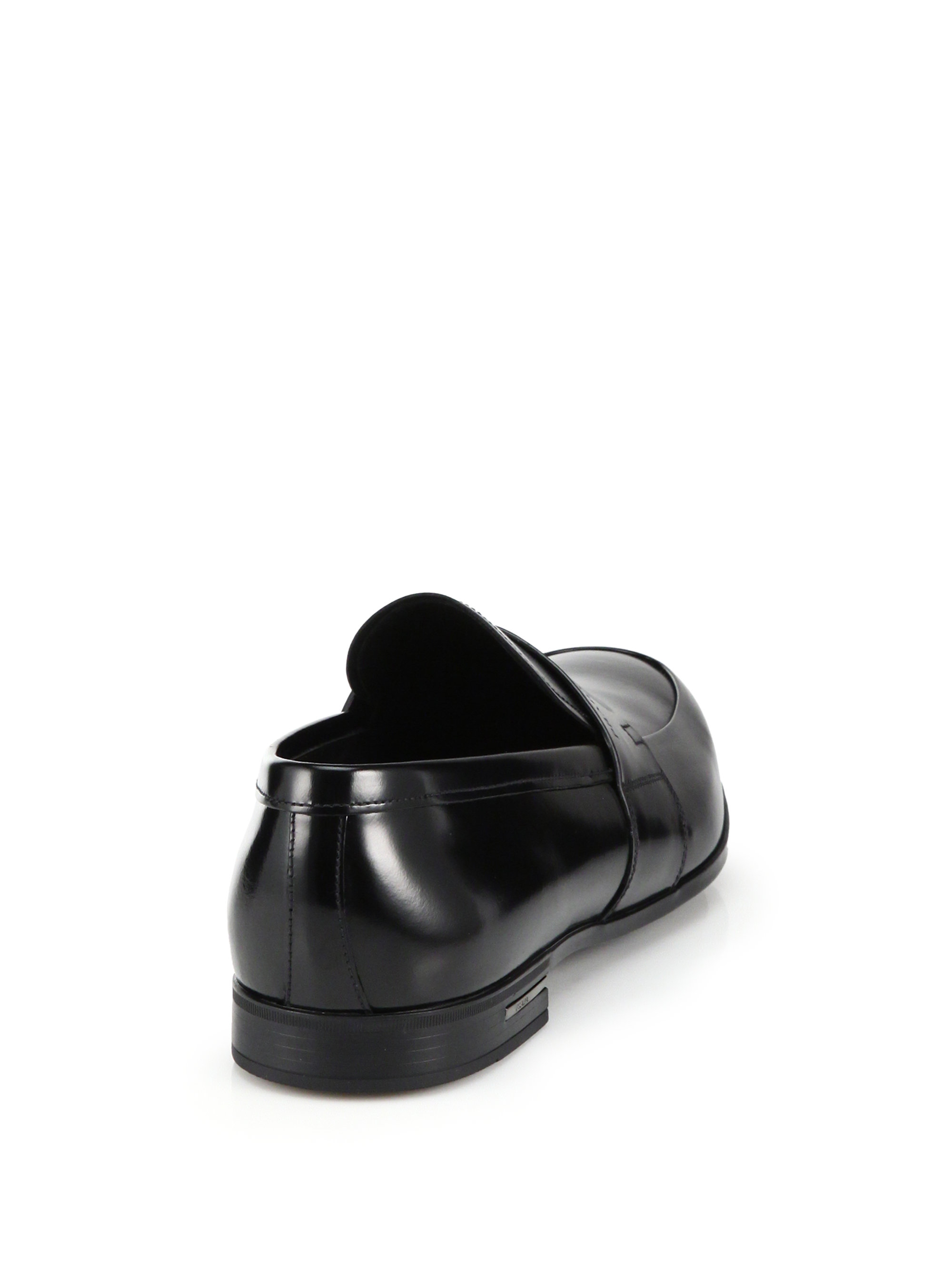 8aee888c7ee Lyst - Prada Spazzolato Leather Penny Loafers in Black for Men