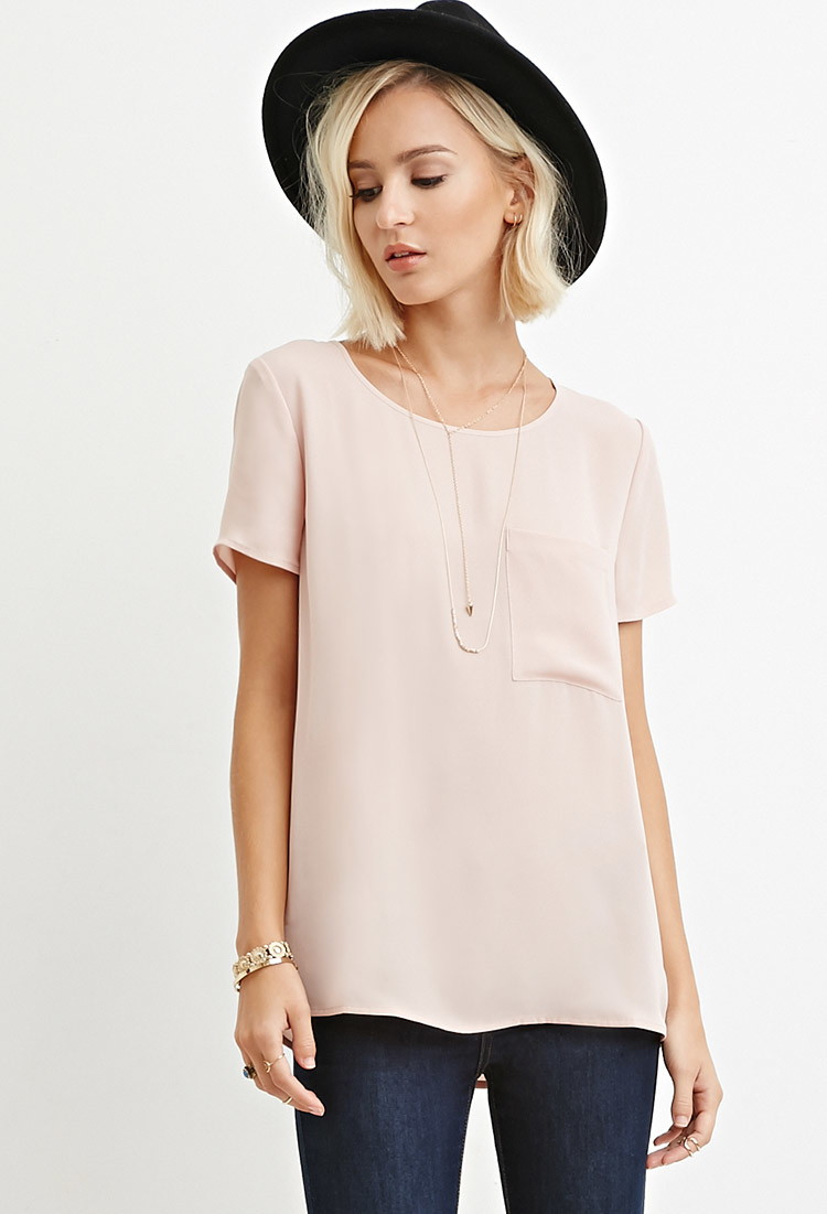 Forever 21 Pocket Chiffon Top in Pink | Lyst