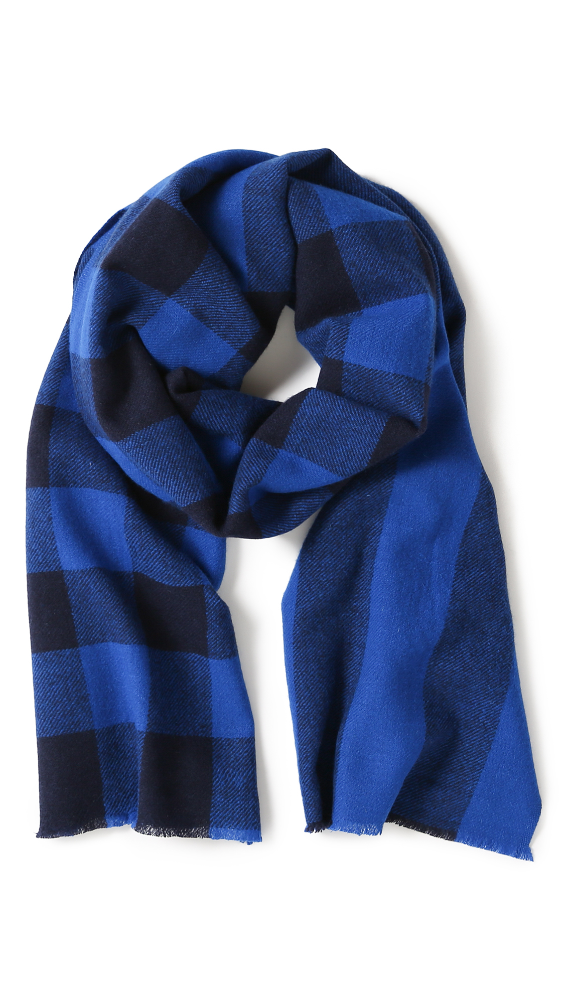 Marc by marc jacobs Boiled Wool Plaid Scarf in Blue for ...