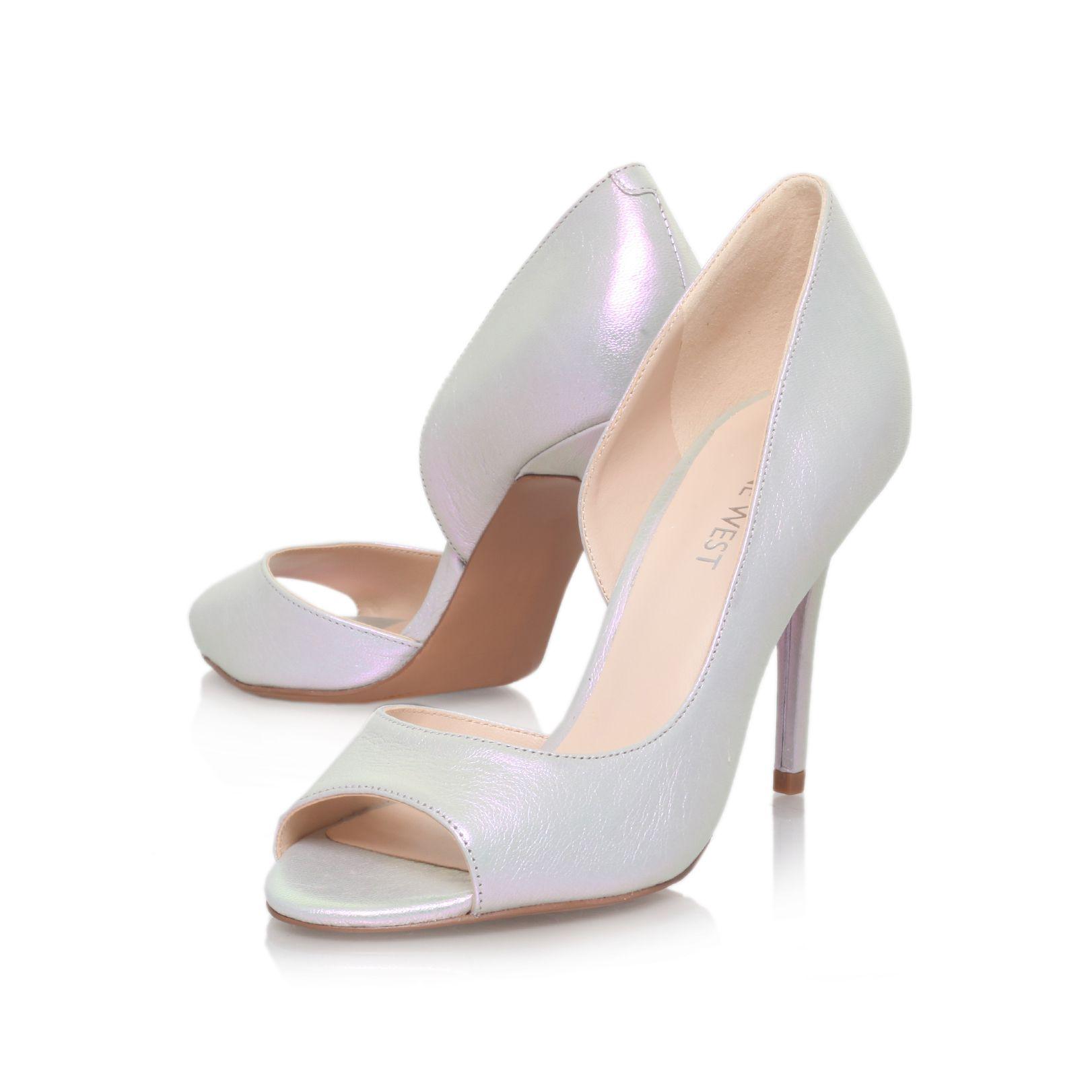 Silver High Heel Peep Toe Shoes