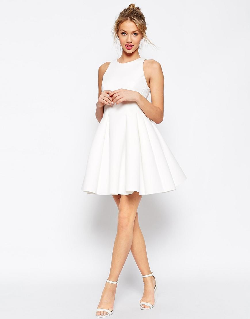 Asos Super Full Bonded Skater Dress In White Lyst