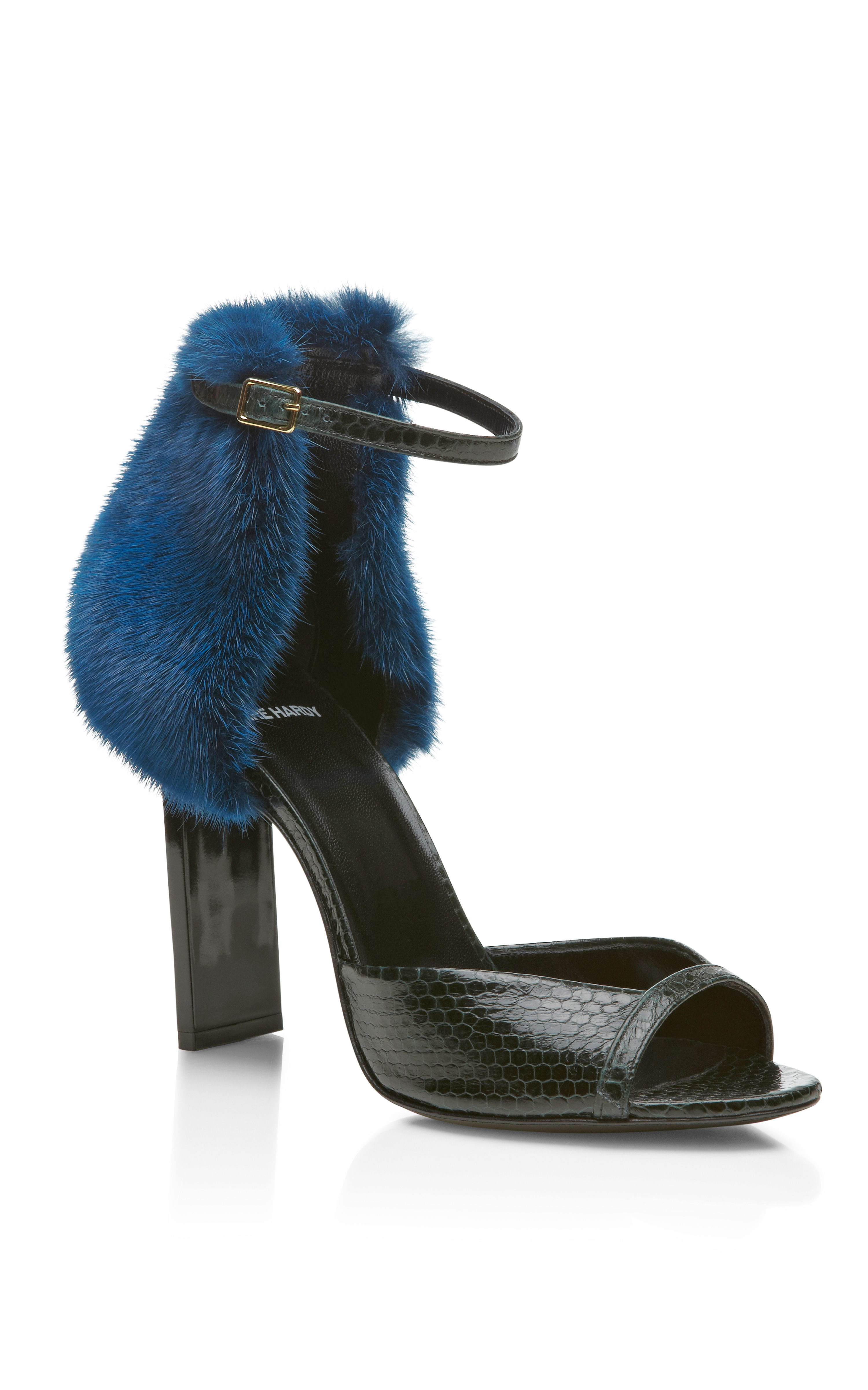 Pierre Hardy Green And Blue Snakeskin And Mink Peep Toe