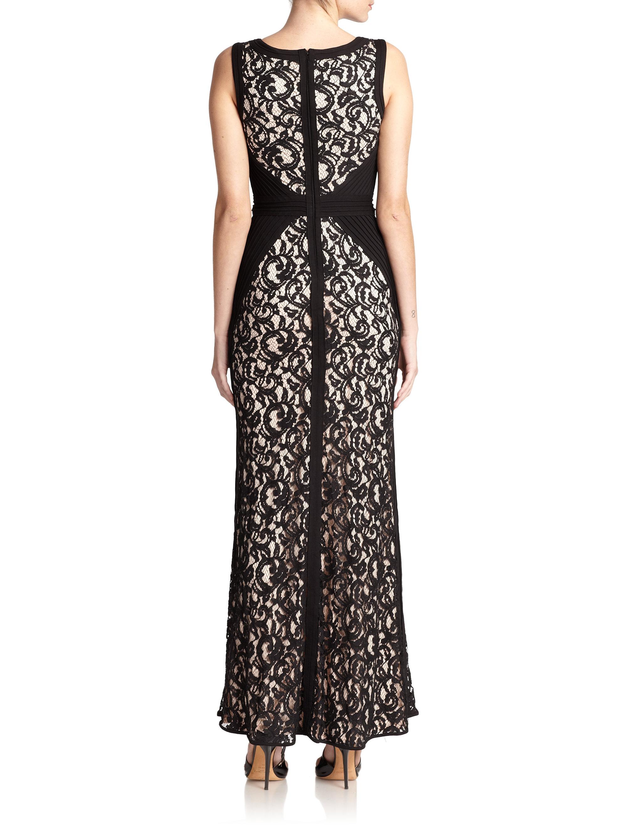 Tadashi Shoji Petite Cord Lace Gown In Black Lyst