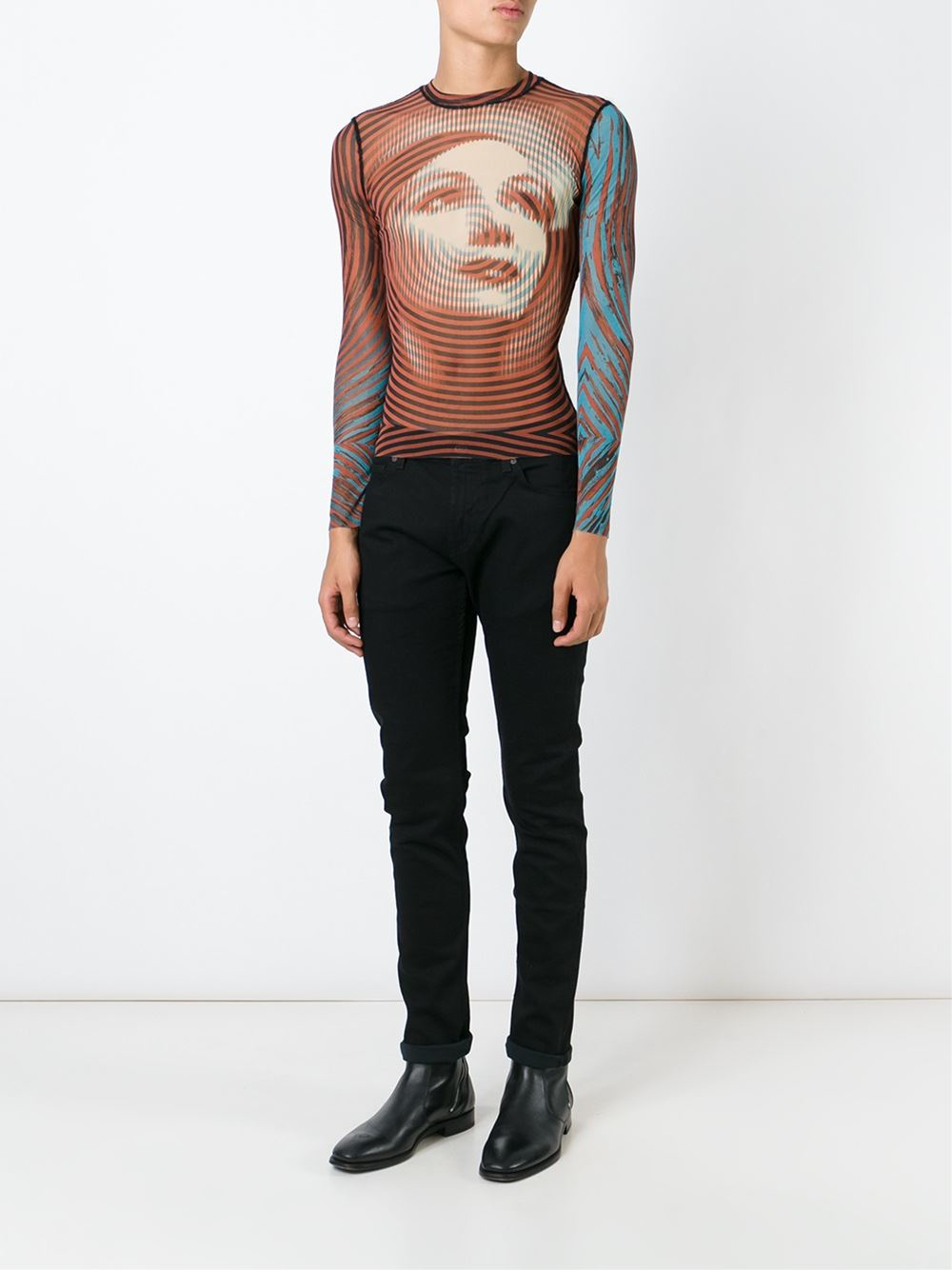 Jean paul gaultier sheer printed top in multicolor for men - Jean paul gaultier puissance 2 ...