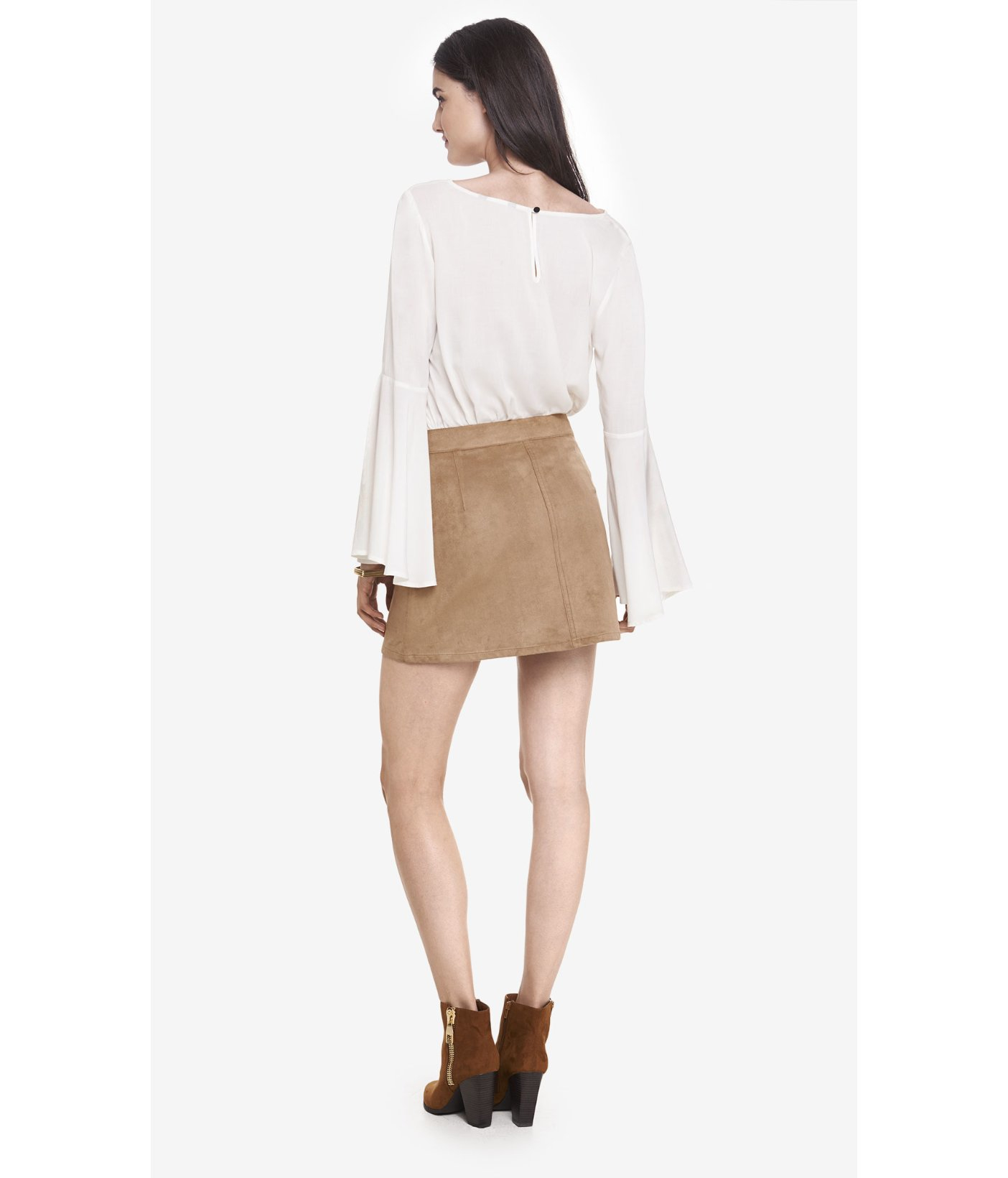 f28f3d5f5 Express Button Front Faux Suede A-line Skirt in Natural - Lyst