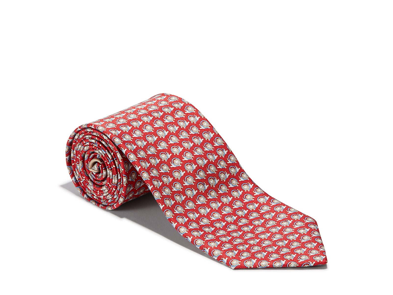 Ferragamo Lions Printed Tie in Red for Men - Lyst