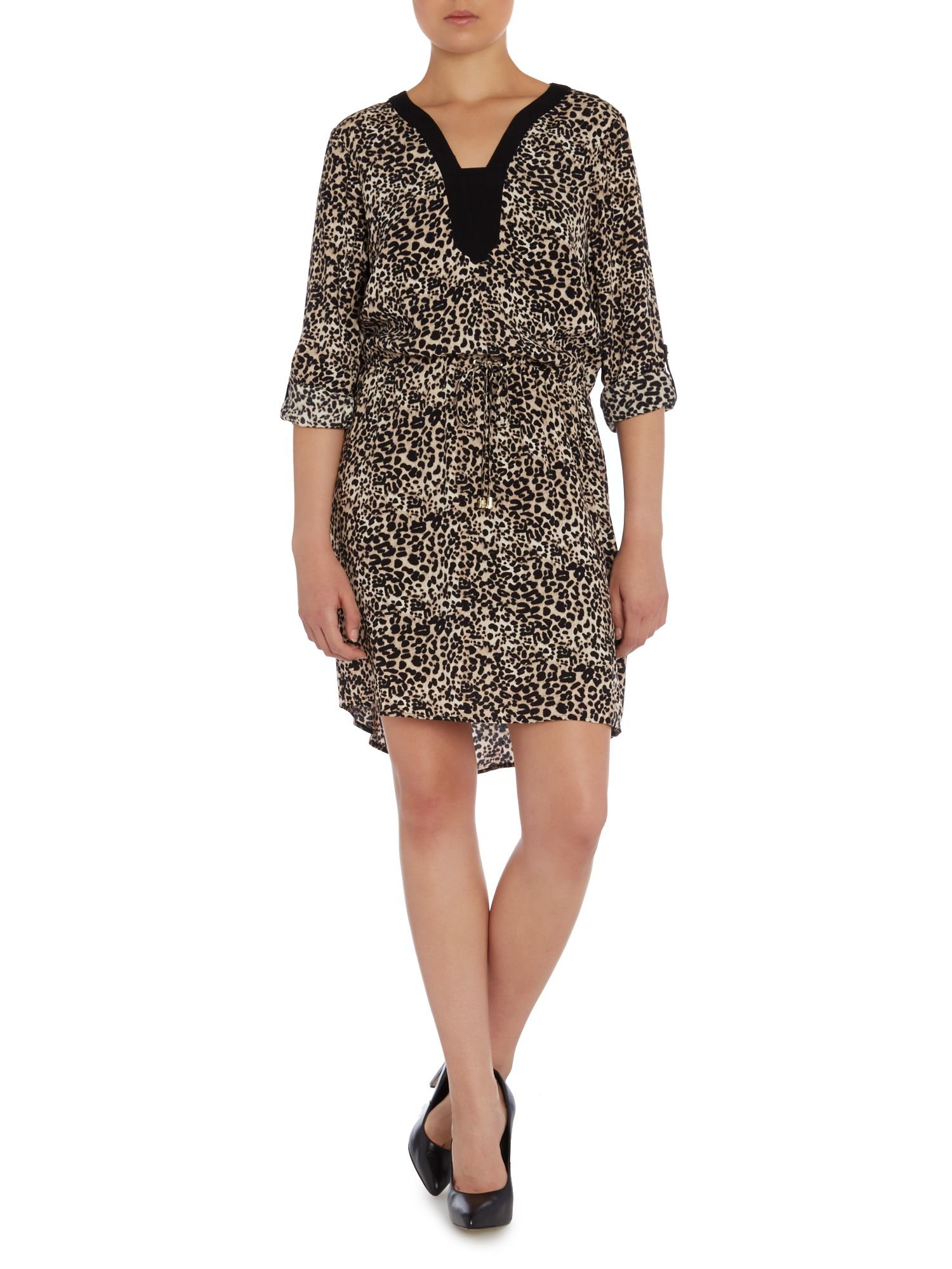 vince camuto 3 4 sleeve leopard print dress lyst