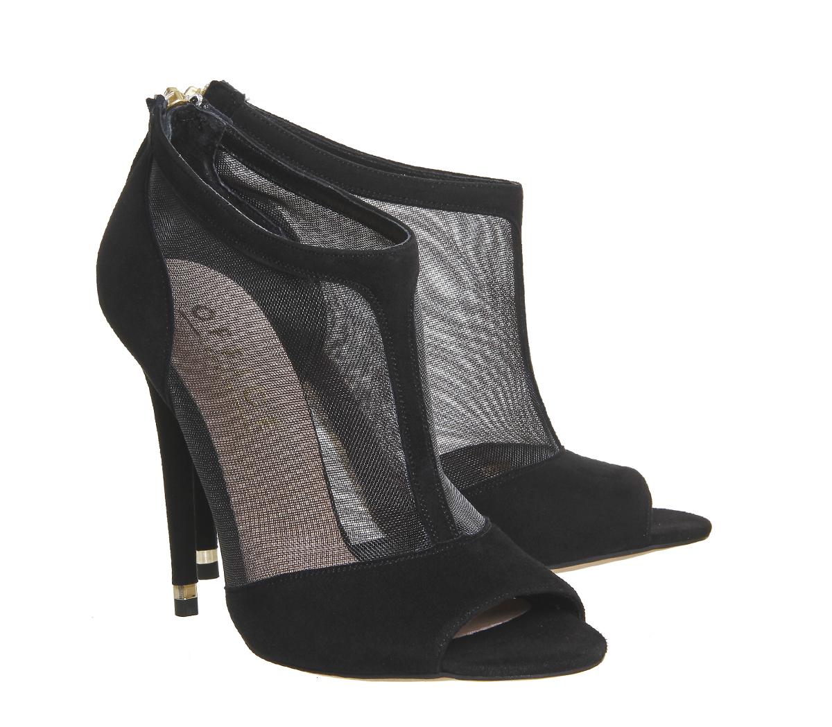 office trip mesh peep toe shoe boots in black lyst