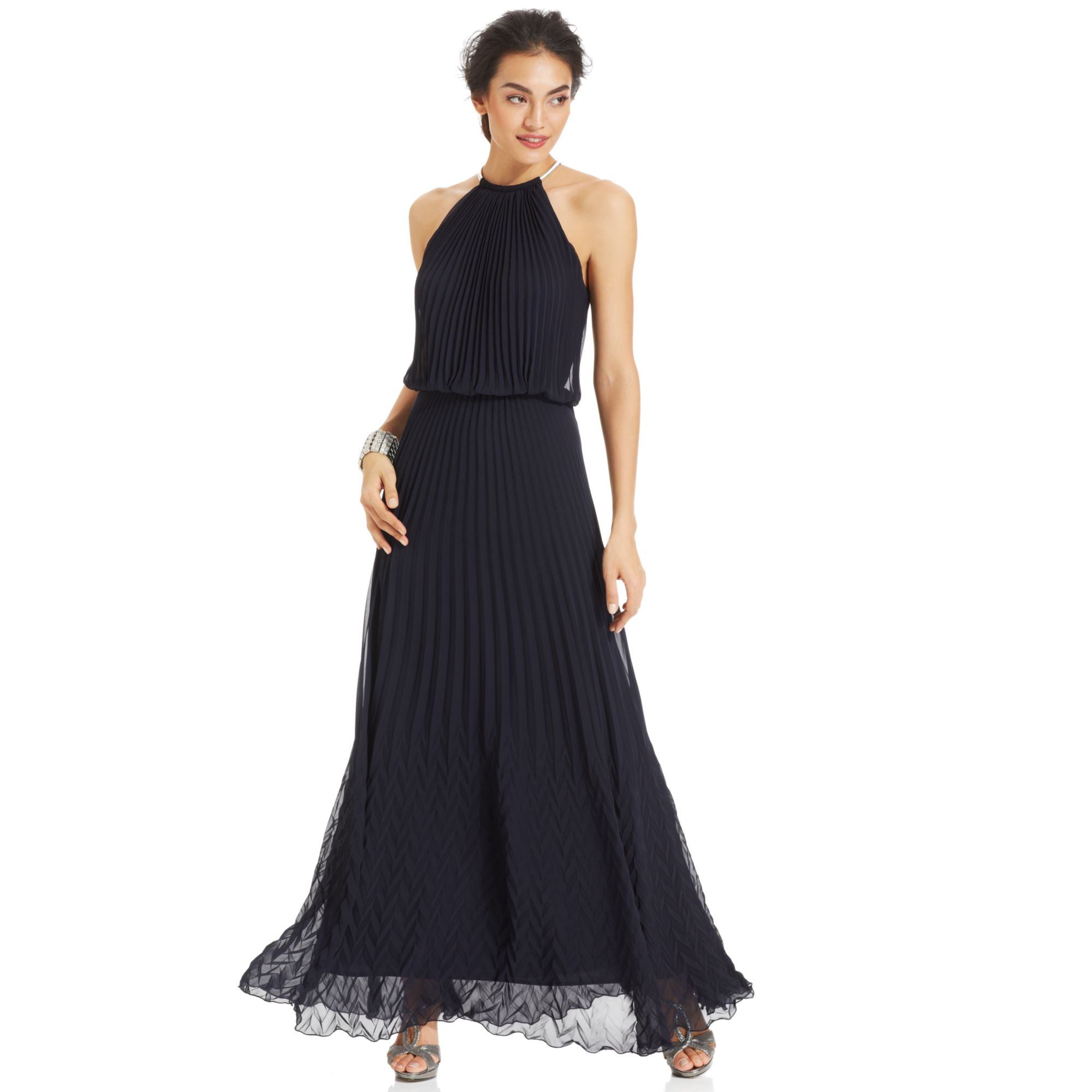 Lyst - Xscape Sleeveless Pleated Blouson Gown in Blue
