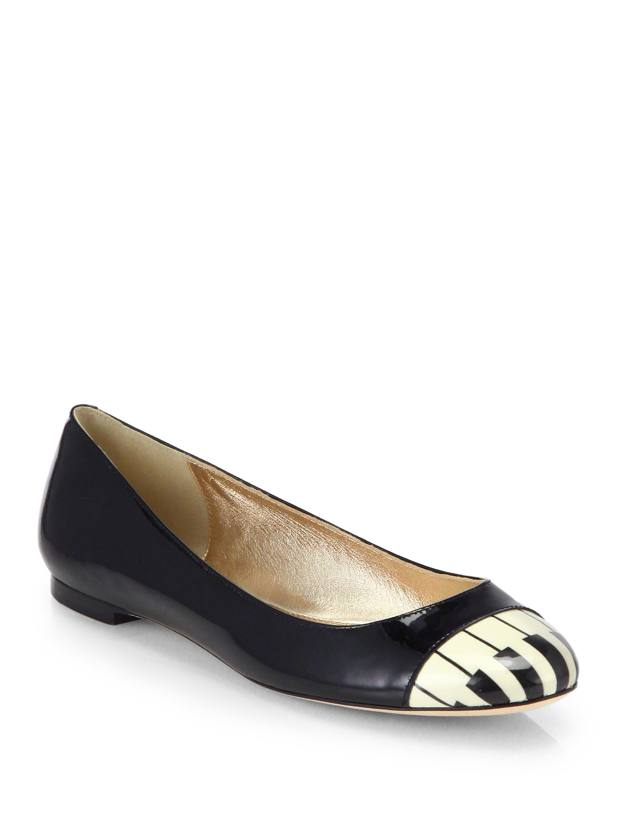 Kate spade jazz piano patent leather ballet flats in black for Kate spade new york flats