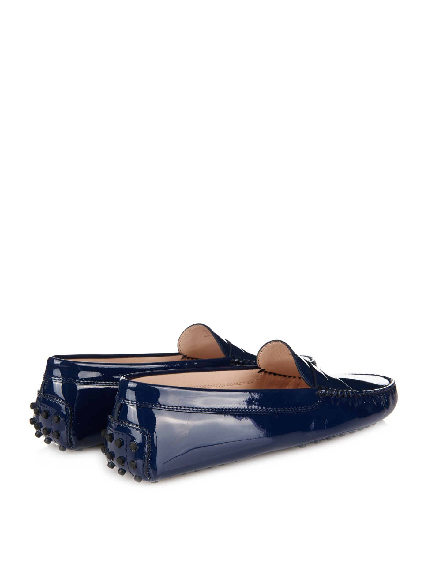 0043d343328 Tod's Gommino Patent-Leather Loafers in Blue - Lyst