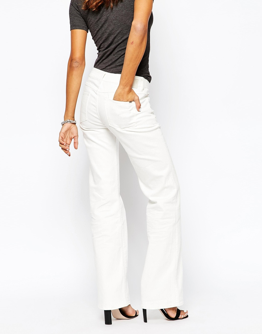 g star raw 3201 low boyfriend flared jeans in white lyst. Black Bedroom Furniture Sets. Home Design Ideas