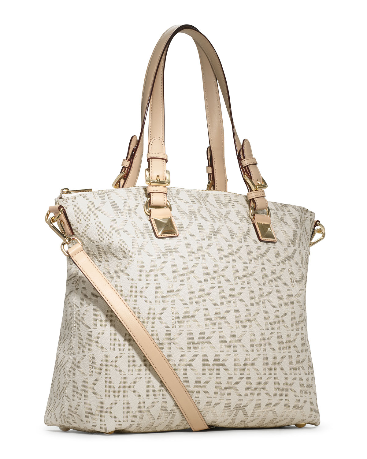 6cef1f48ee9d Lyst - Michael Kors Michael Jet Set Logo Multifunction Tote in Natural