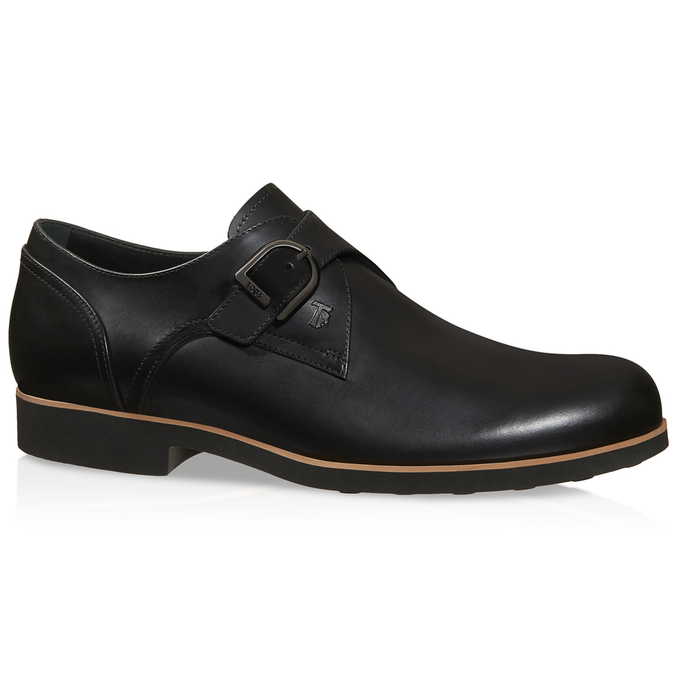 tod s monk shoes in leather in black for lyst