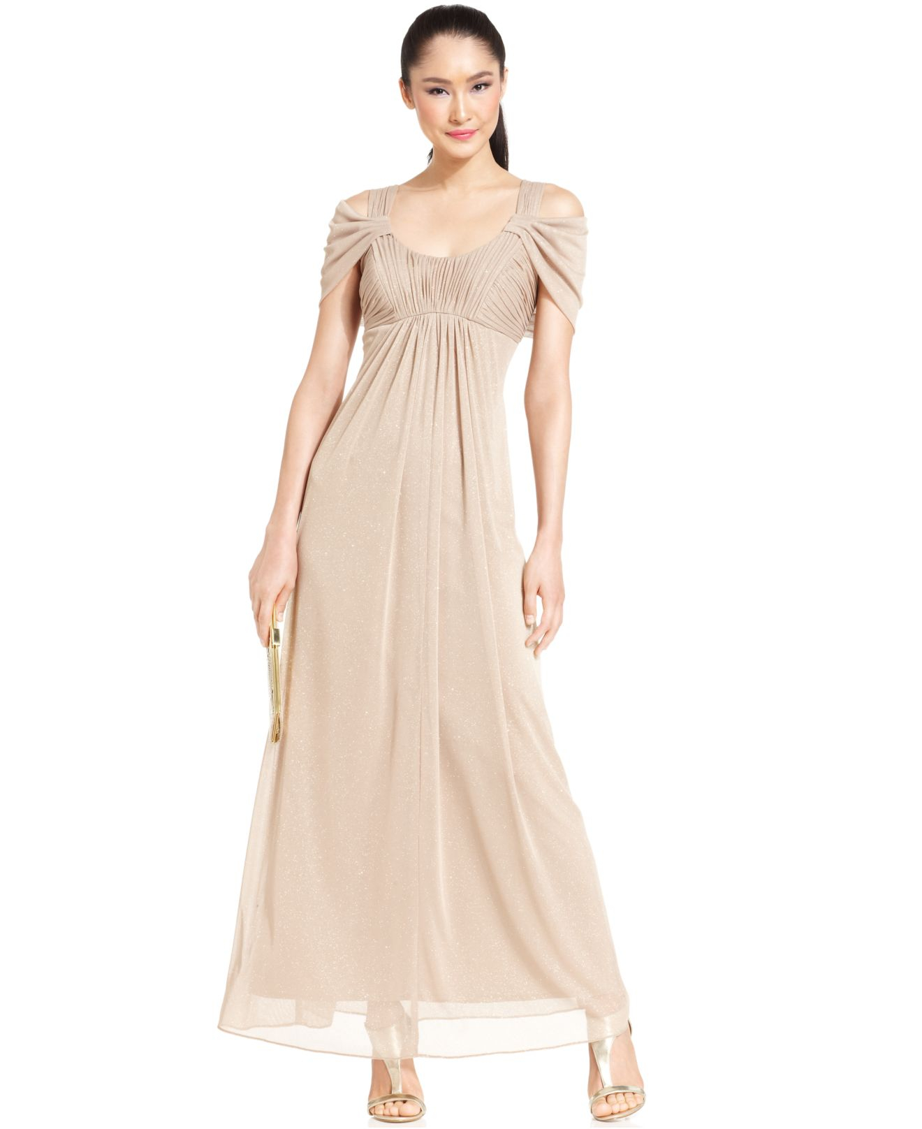 Lyst - Alex Evenings Cold-Shoulder Ruched Glitter Gown in Metallic