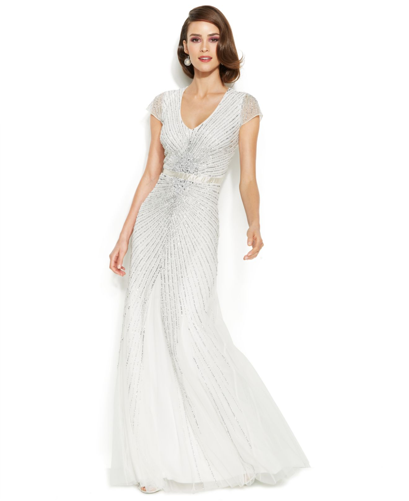 Lyst - Adrianna Papell Cap-Sleeve Embellished Sunburst Gown in White