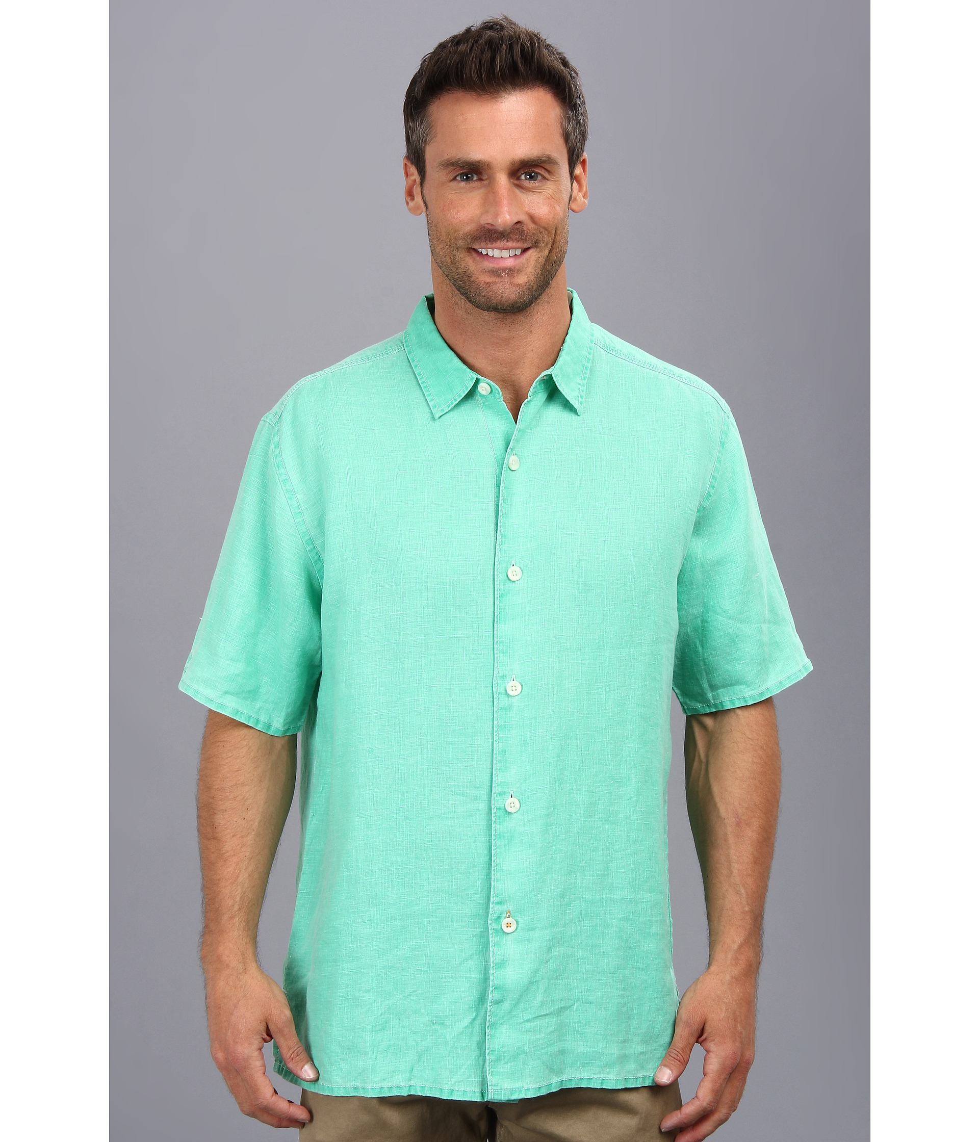 Tommy Bahama Sea Glass Breezer Ss Shirt In Green For Men