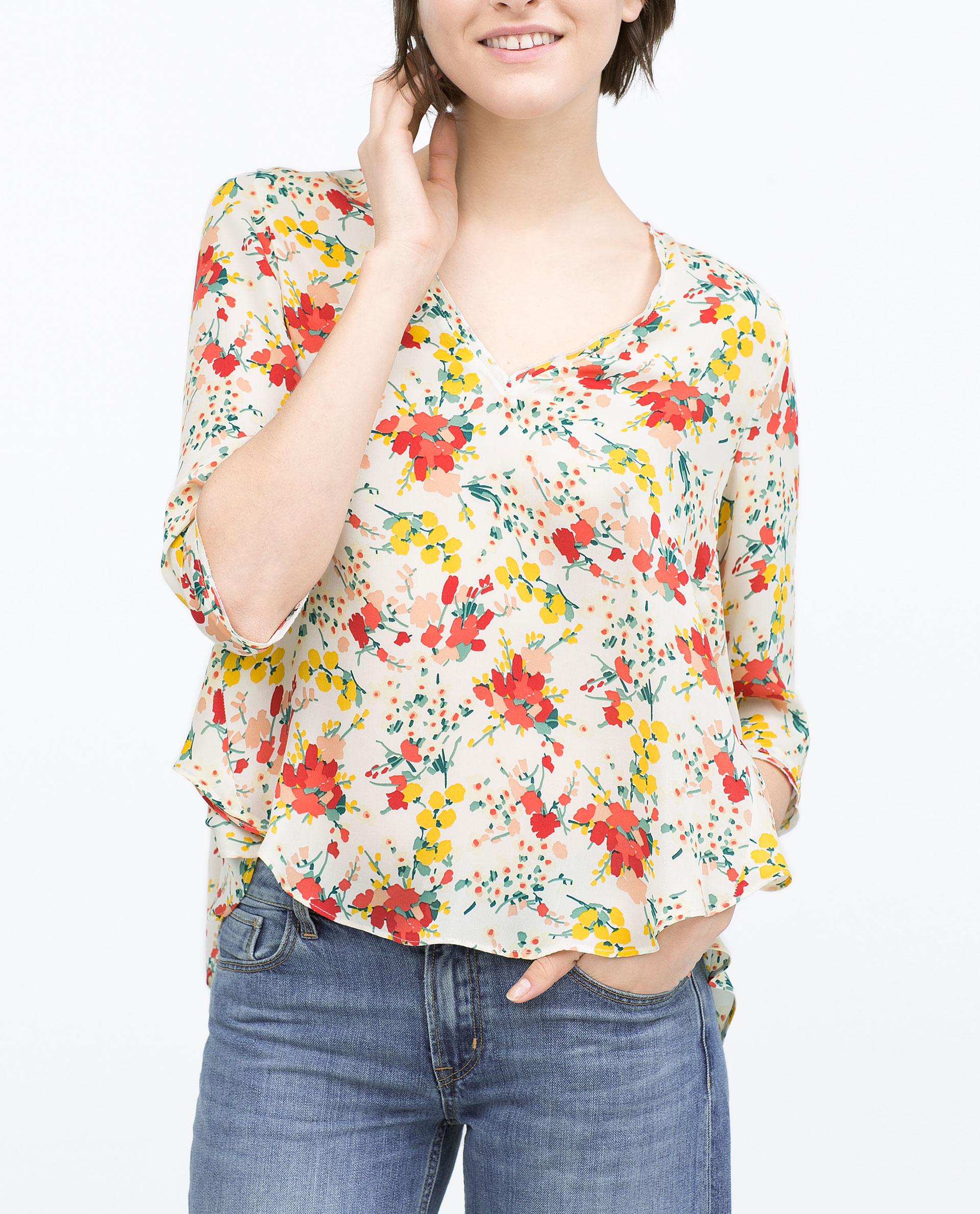Zara floral print silk short sleeve blouse collar blouses for Zara mens floral shirt