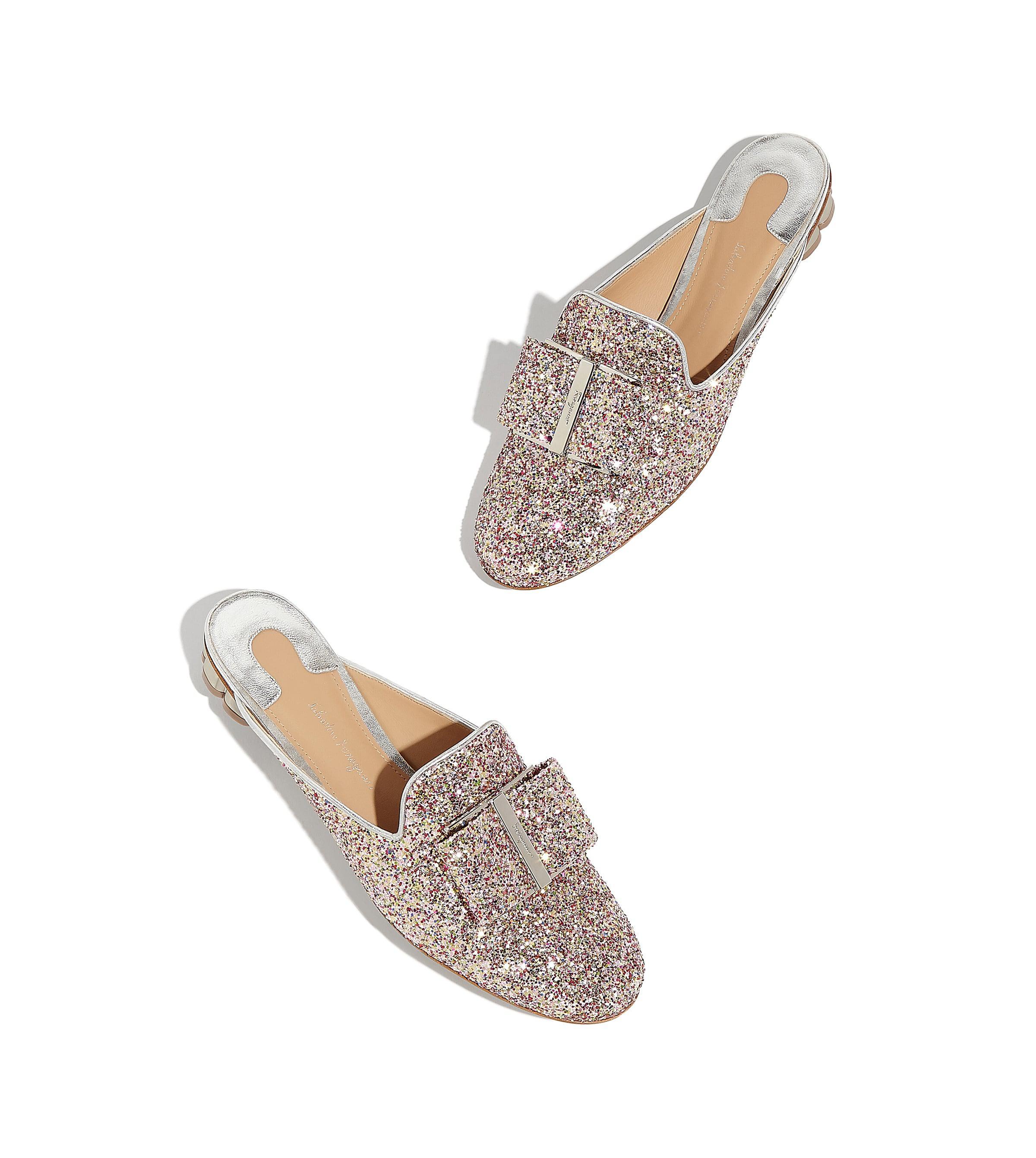 3c91c4c3e02ab7 Lyst - Ferragamo Glitter Flower Heel Mule Slipper Shoe