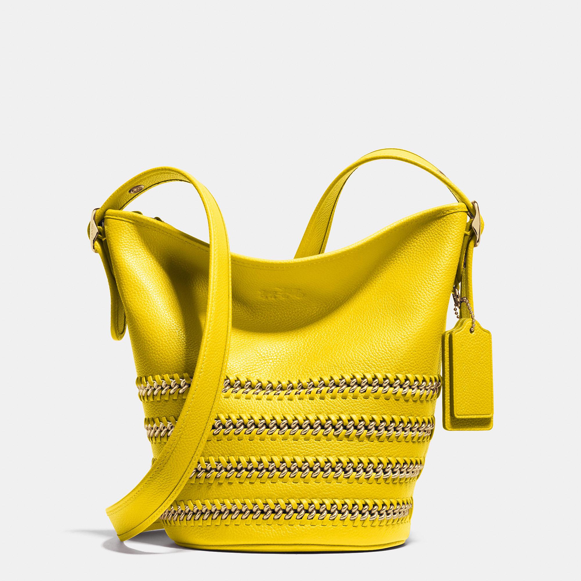 e715c3df8e Lyst - COACH Mini Duffle In Whiplash Leather in Yellow