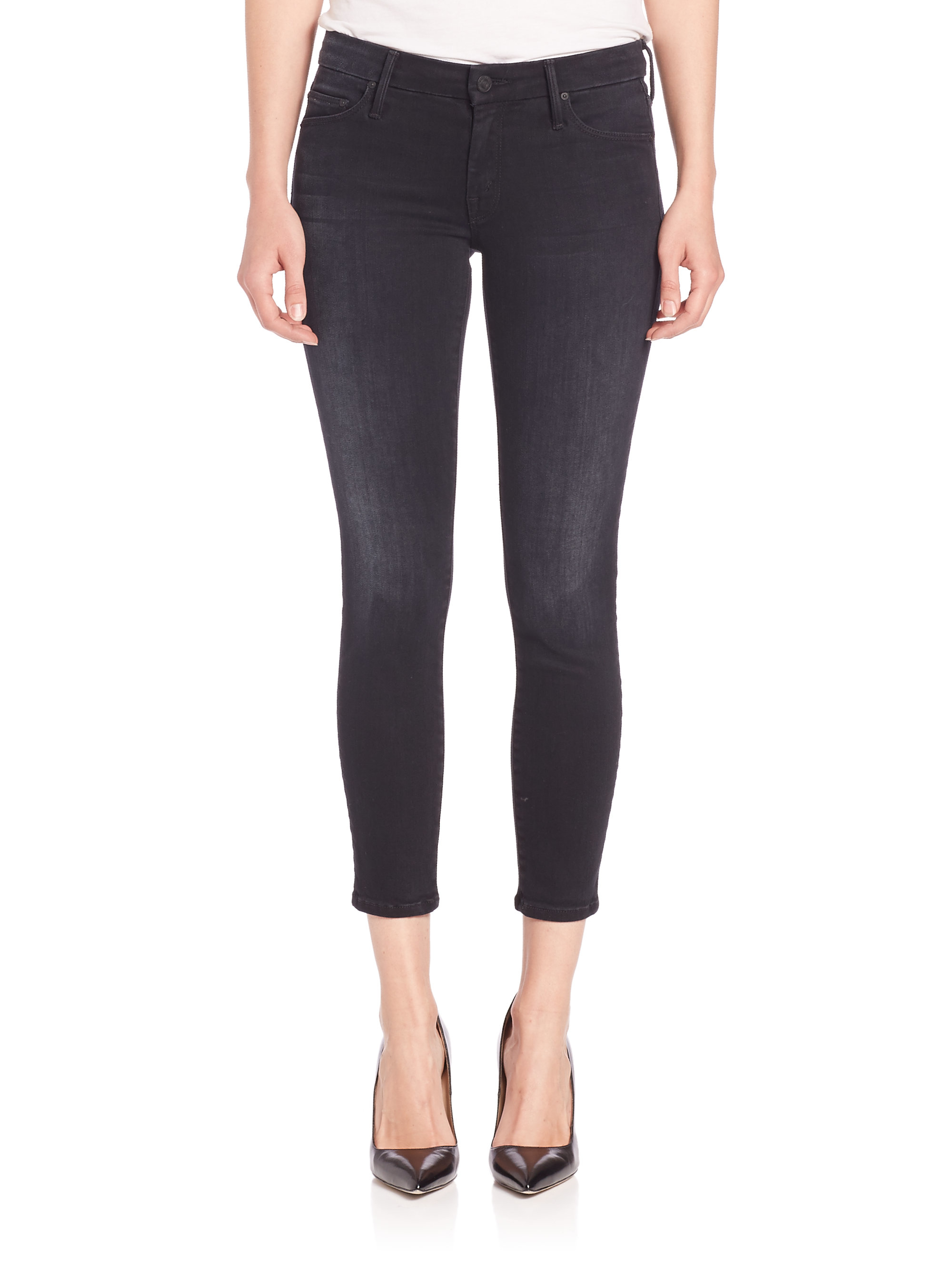 Mother The Looker Cropped Skinny Jeans in Black  Lyst