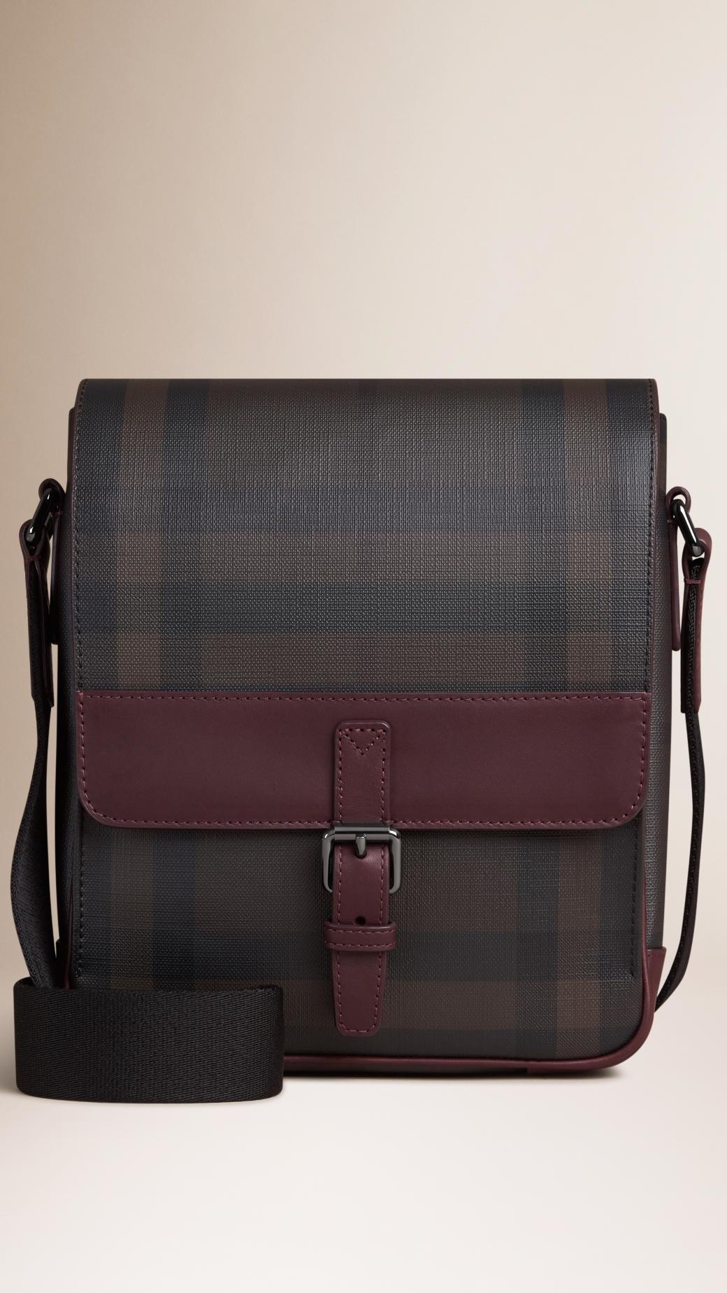 f9f7c91f1b13 Lyst - Burberry Smoked Check Crossbody Bag in Gray for Men