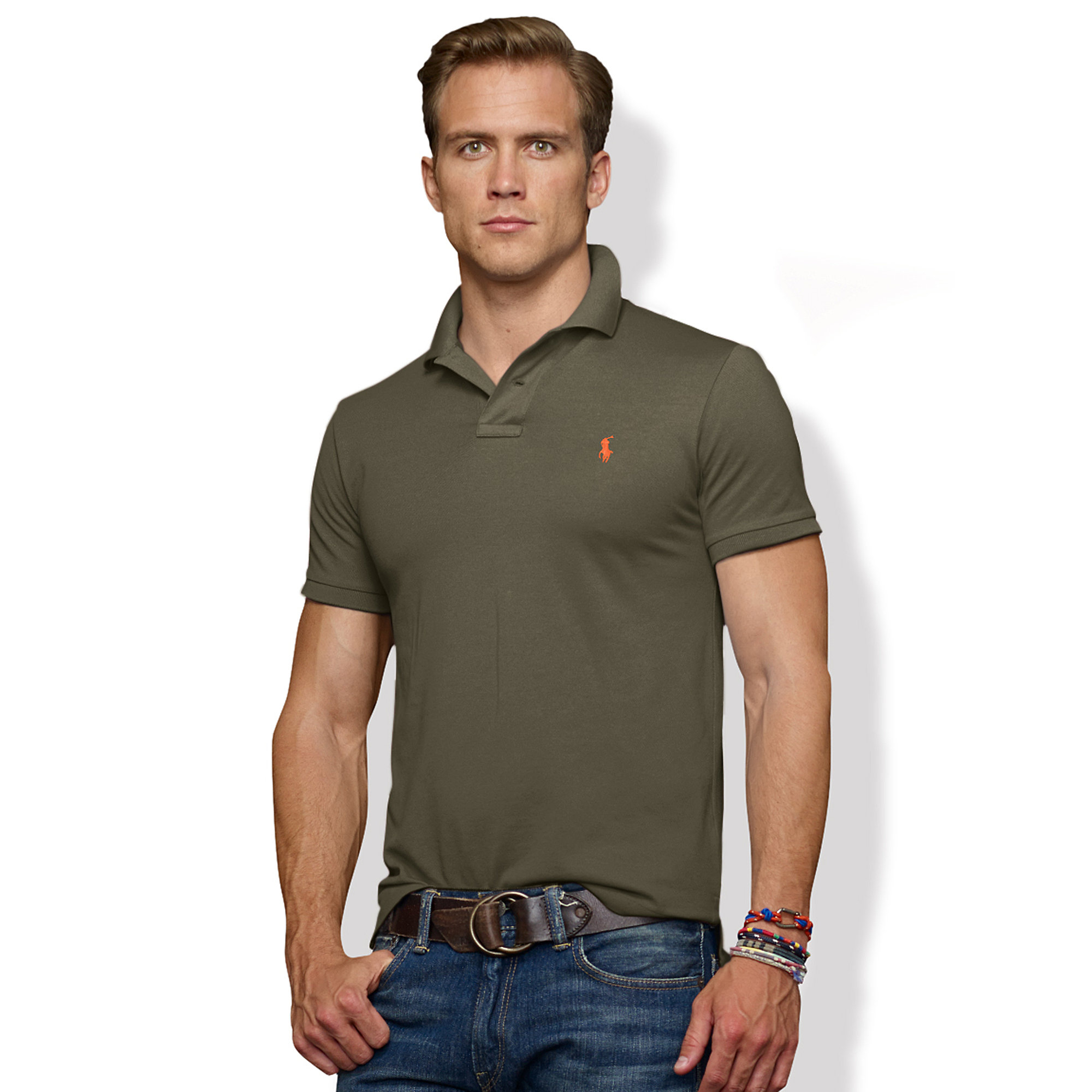 9d446f74c Polo Ralph Lauren Slim-fit Stretch-mesh Polo in Green for Men - Lyst
