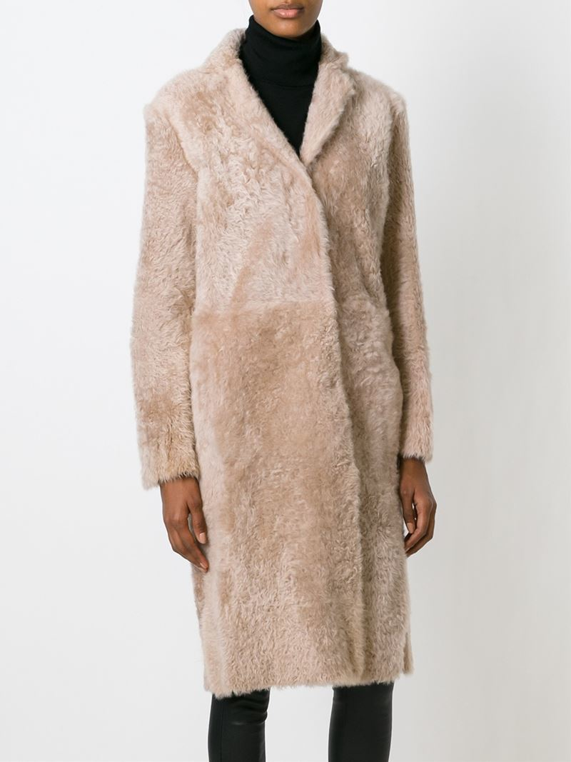 Drome Reversible Lamb-Fur Coat in Natural | Lyst