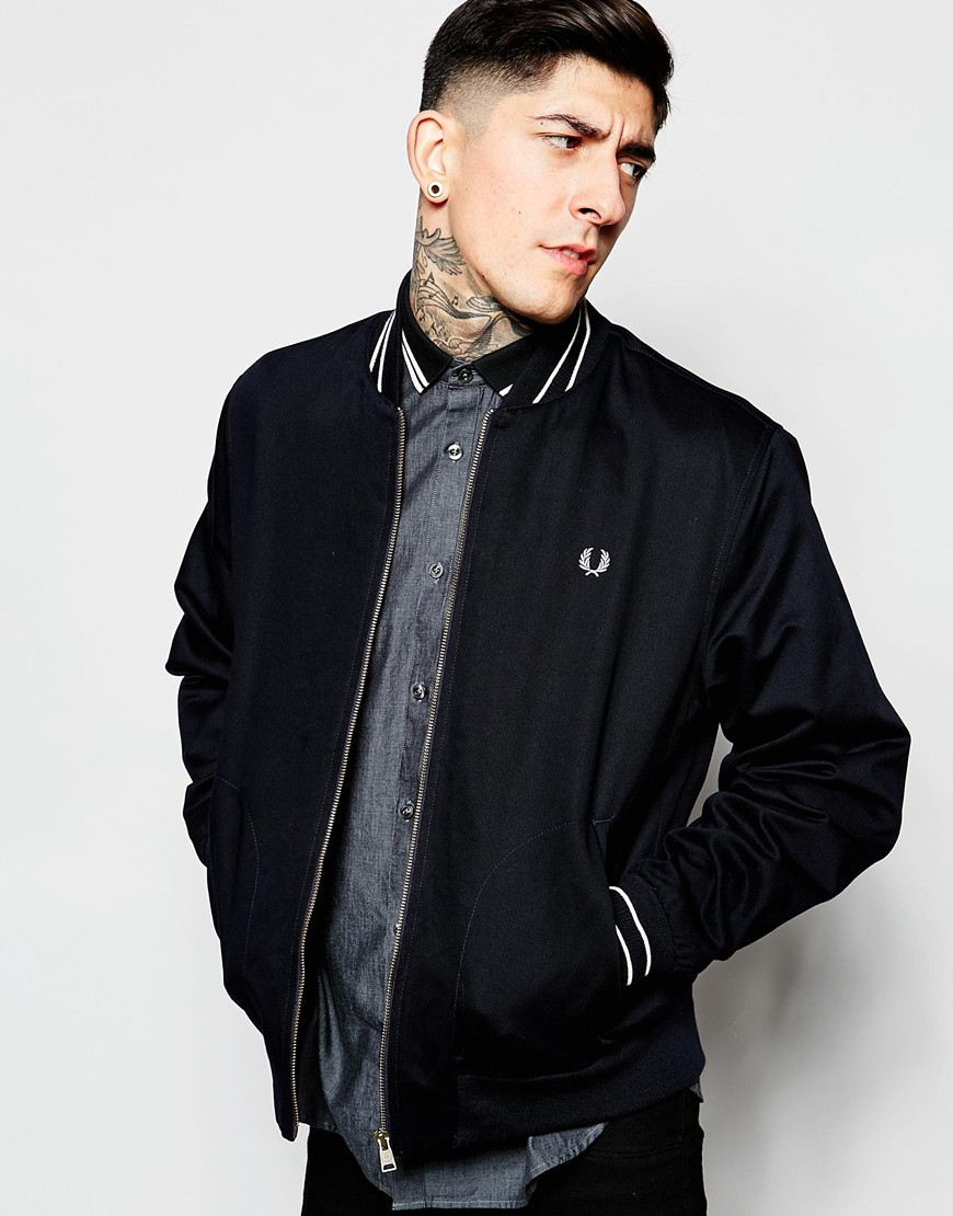 lyst fred perry bomber jacket with tipping in blue for men. Black Bedroom Furniture Sets. Home Design Ideas