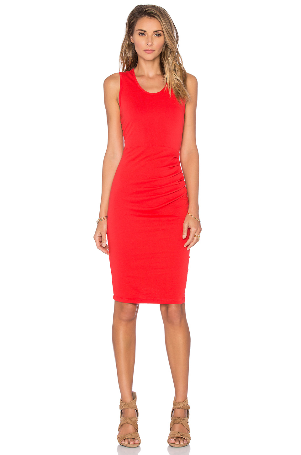 Bobi Lightweight Cashmere Terry Shirred Midi Tank Dress in Red | Lyst