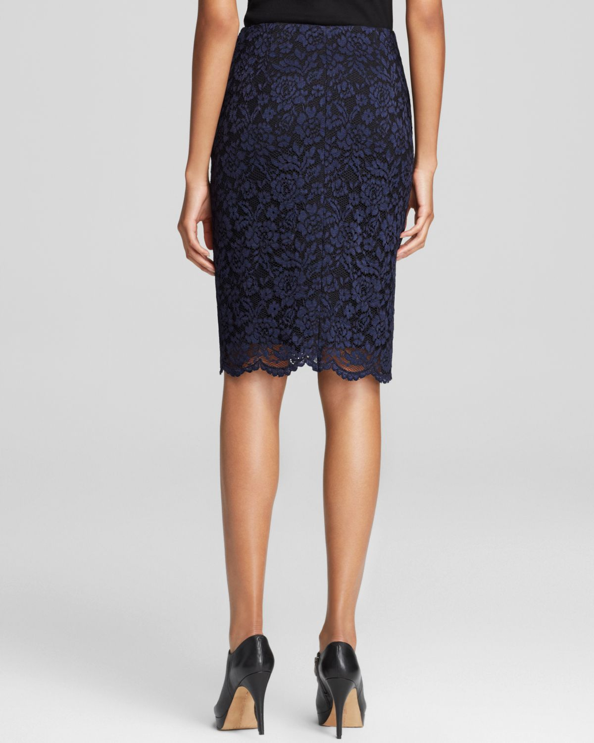 vince camuto floral lace pencil skirt in black lyst