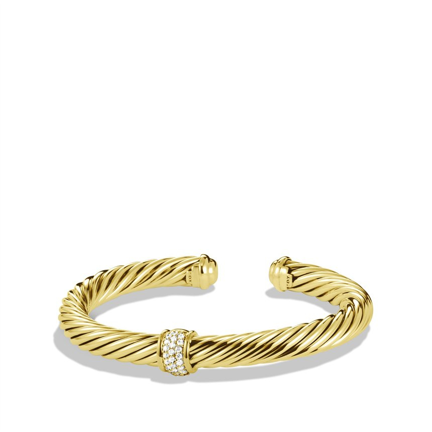 David Yurman Cable Classics Bracelet With Diamonds In Gold