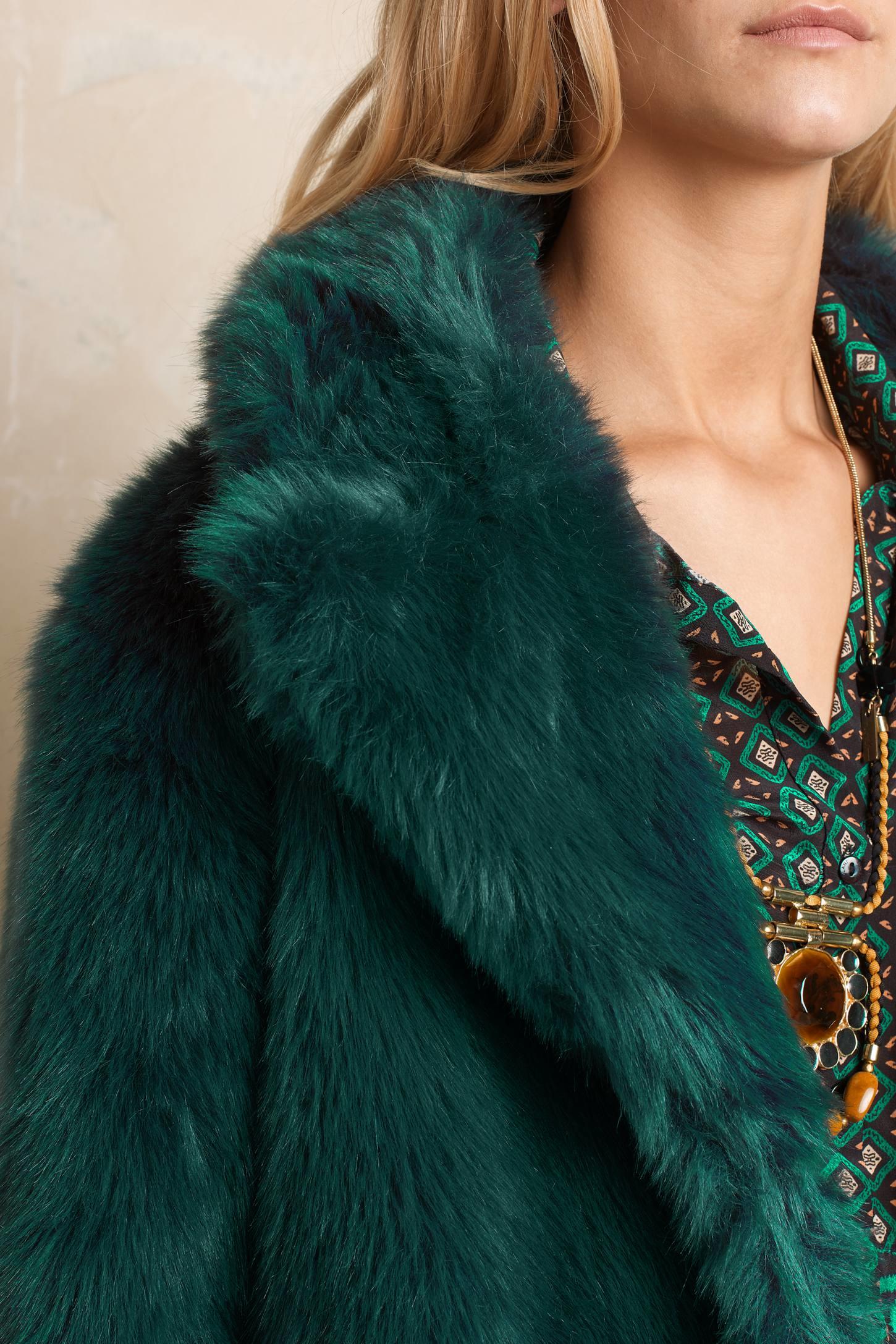Selected Bania Faux Fur Coat in Green