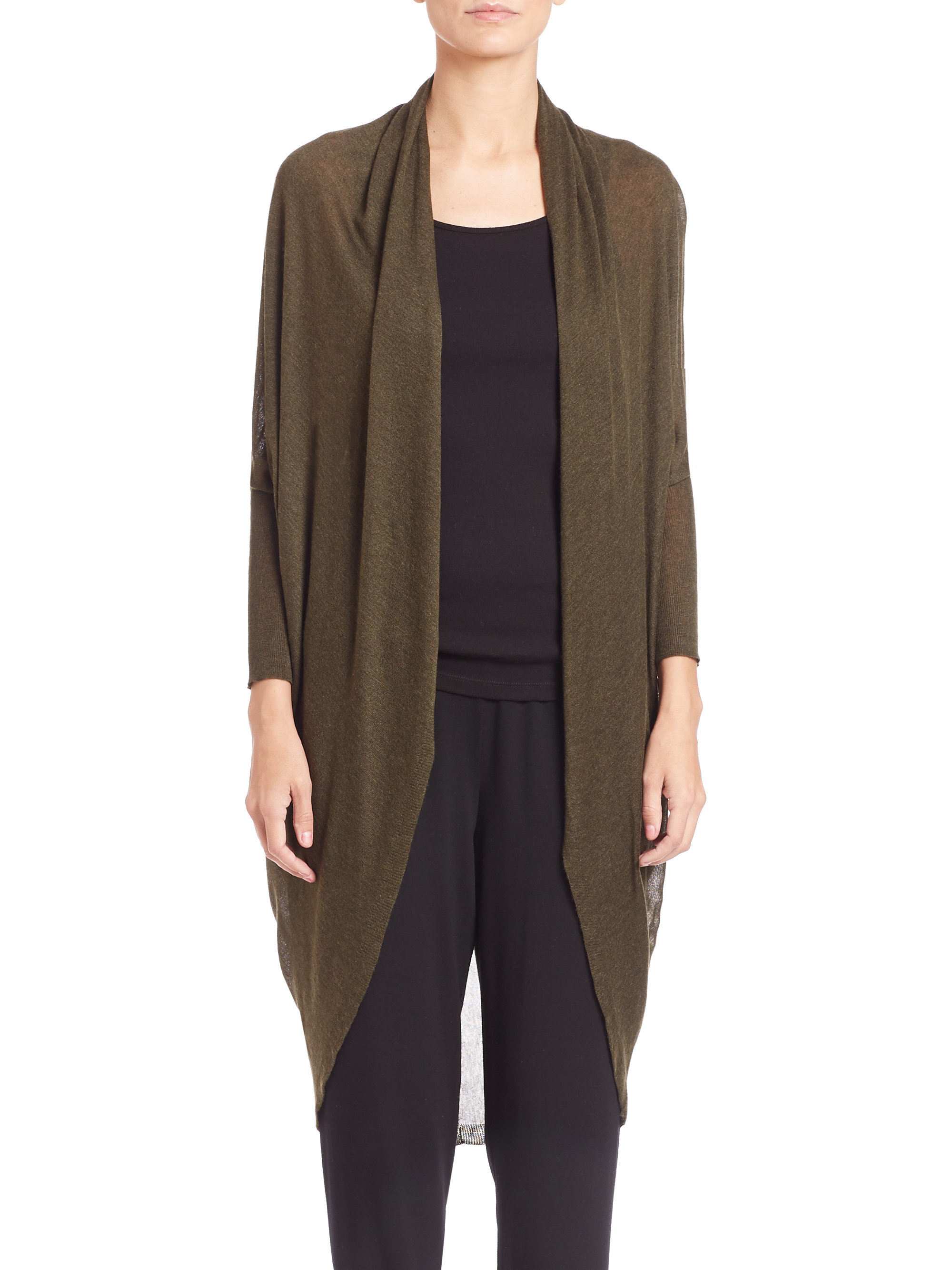 Eileen fisher Knit Long Cocoon Cardigan in Brown | Lyst