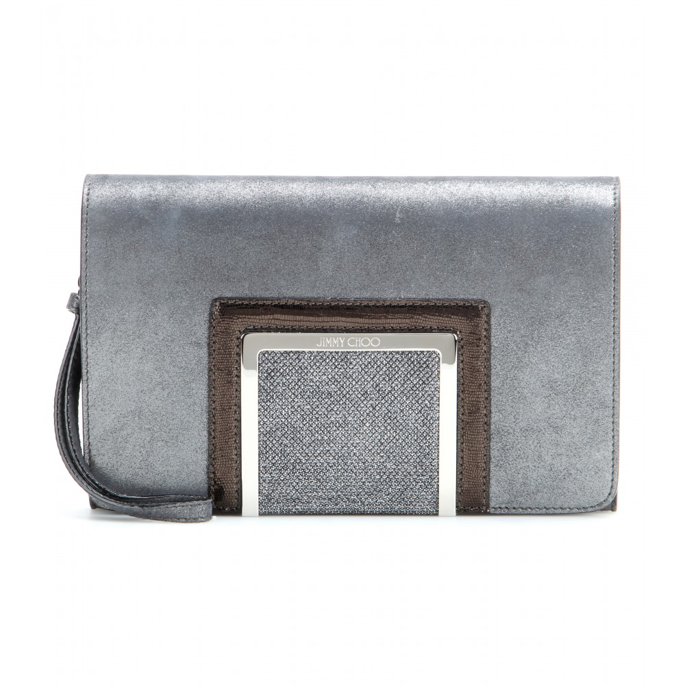 lyst jimmy choo alara suede clutch in gray. Black Bedroom Furniture Sets. Home Design Ideas