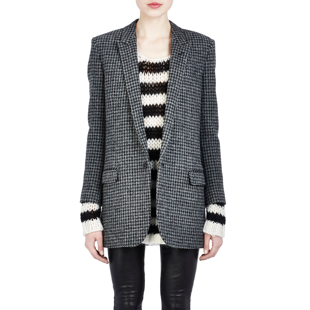 Saint laurent Houndstooth Tweed Single-button Jacket in Gray | Lyst