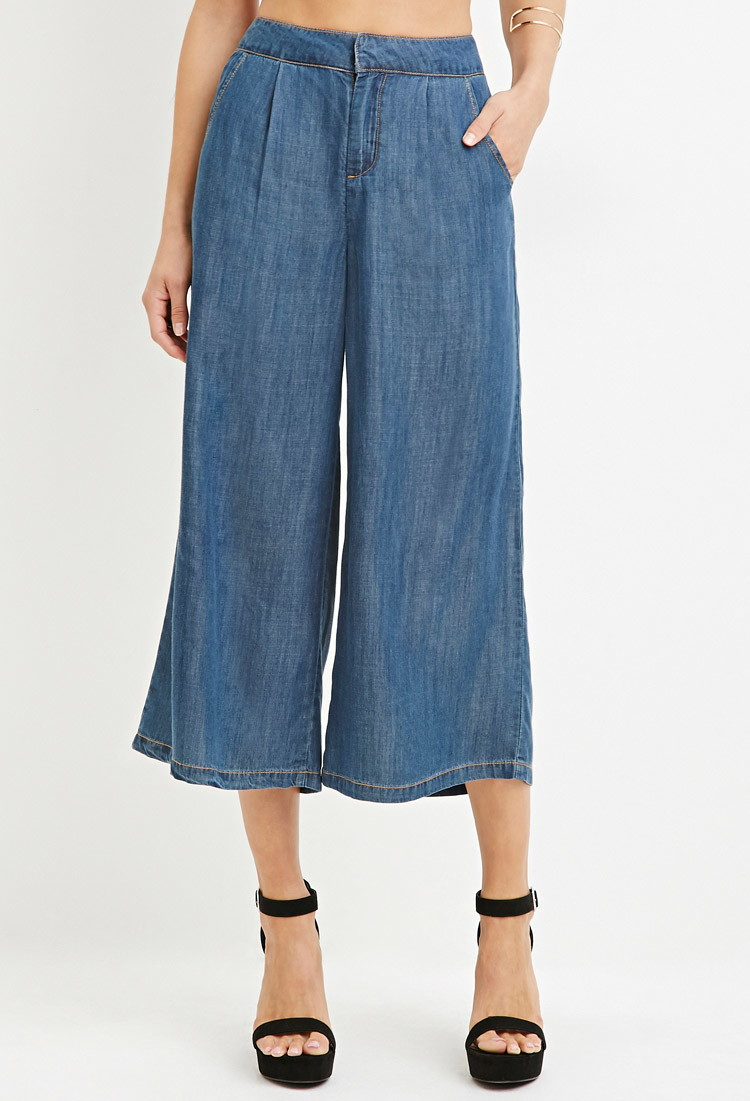 Forever 21 Contemporary Life In Progress Chambray Culottes