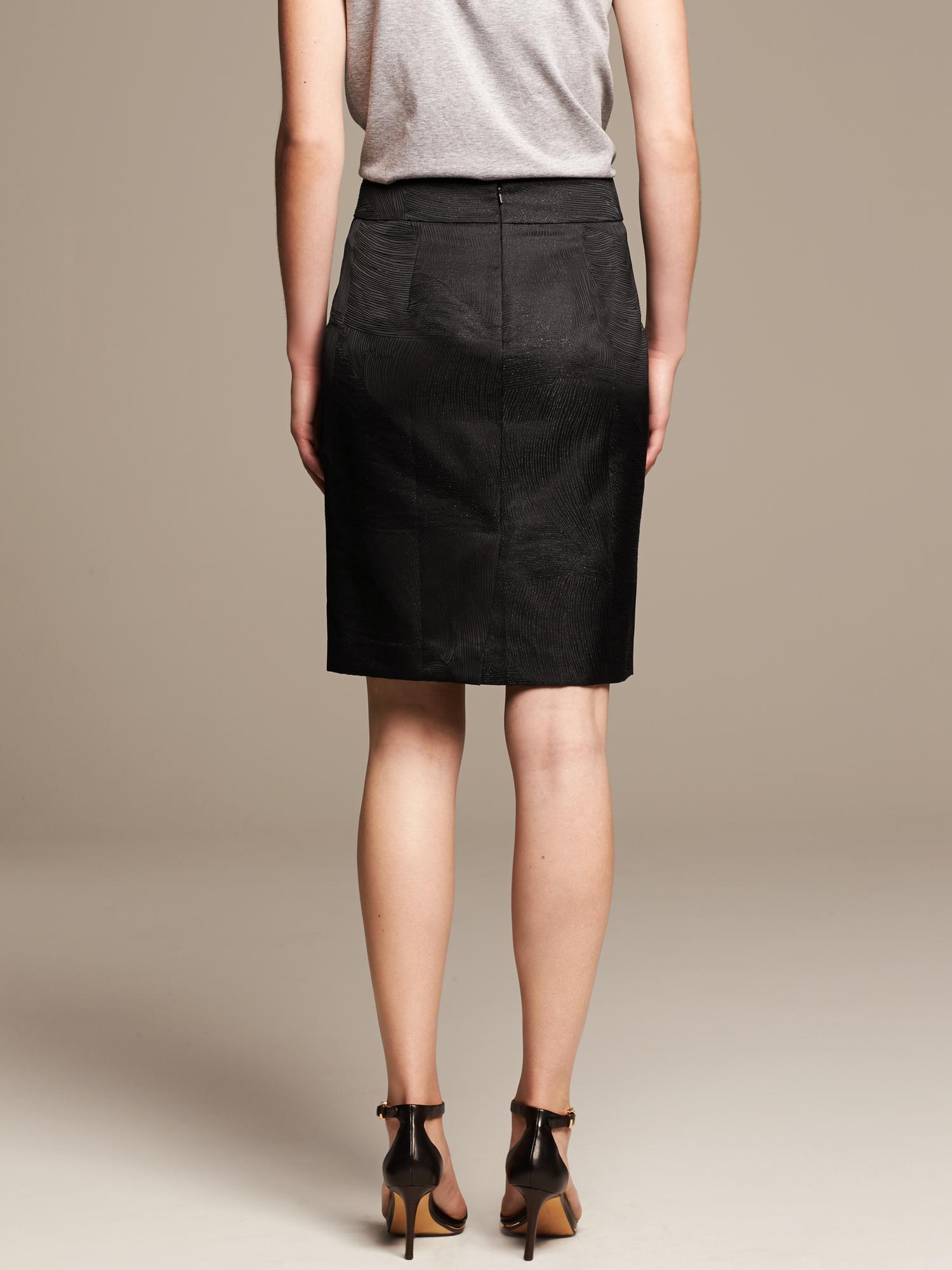 banana republic br monogram shine pencil skirt in black lyst