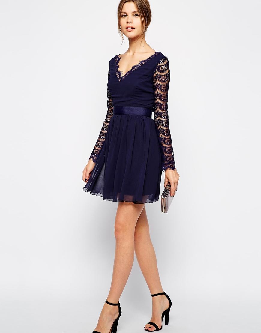 38517e00f2506 Blue Lace Skater Dress Long Sleeve – DACC