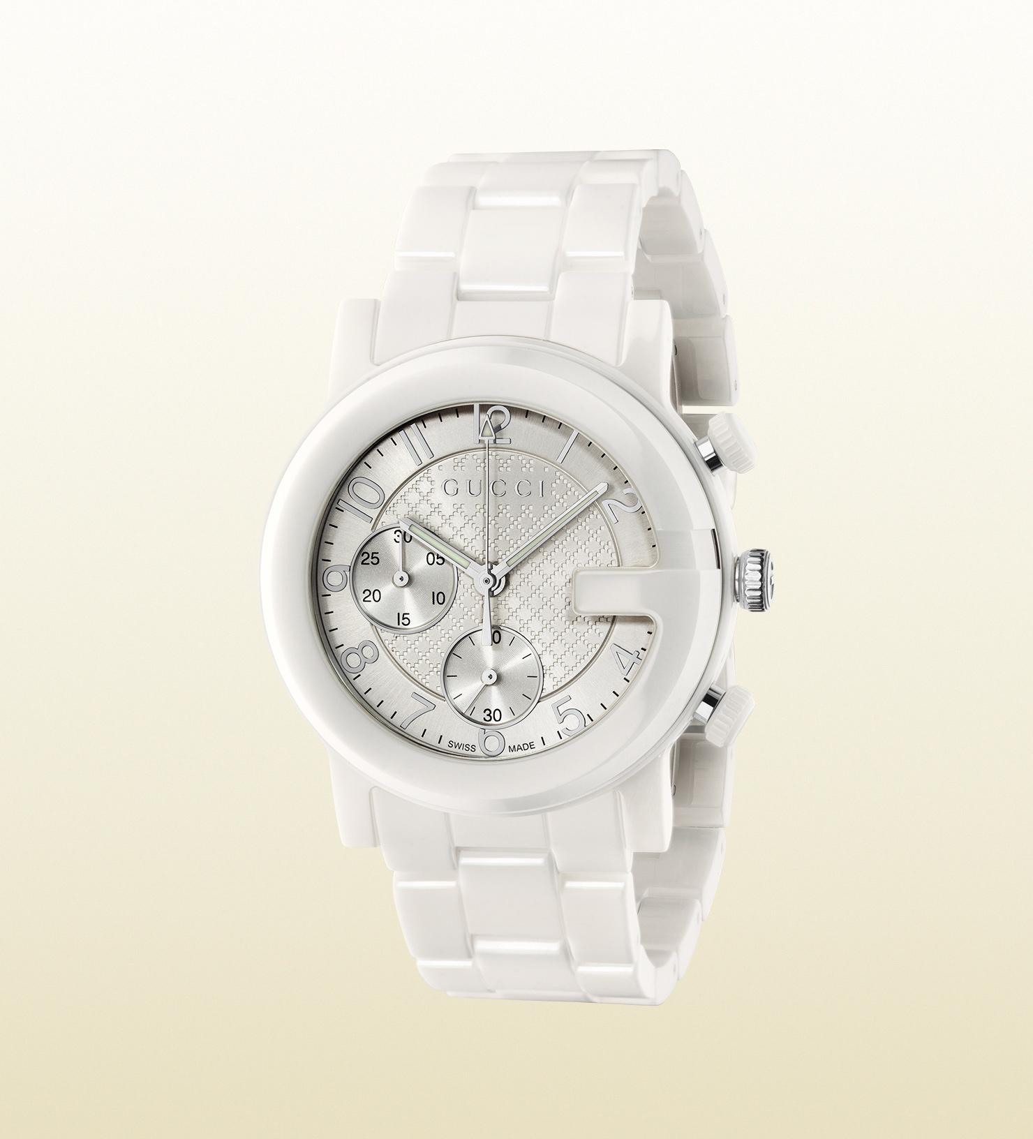 7e1c53f94 Gucci G-chrono Ceramic Watch in White - Lyst