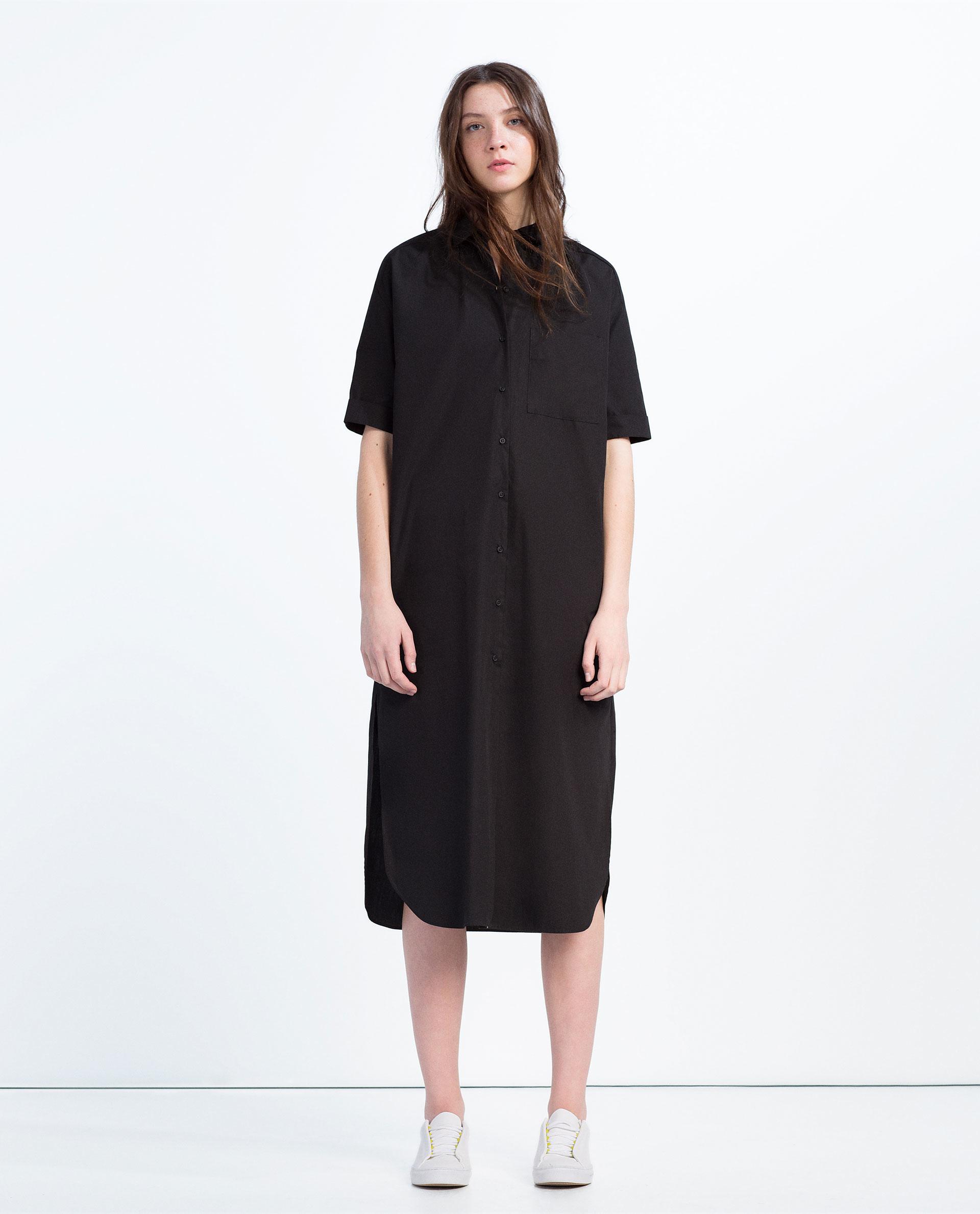 Zara extra long shirt dress in black lyst for Extra long mens dress shirts