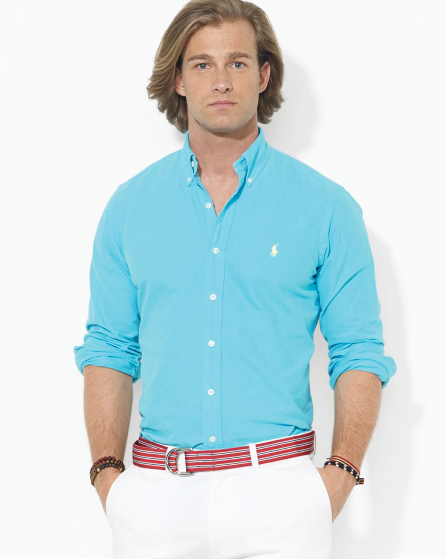 Lyst ralph lauren polo custom oxford button down shirt for Polo ralph lauren casual button down shirts