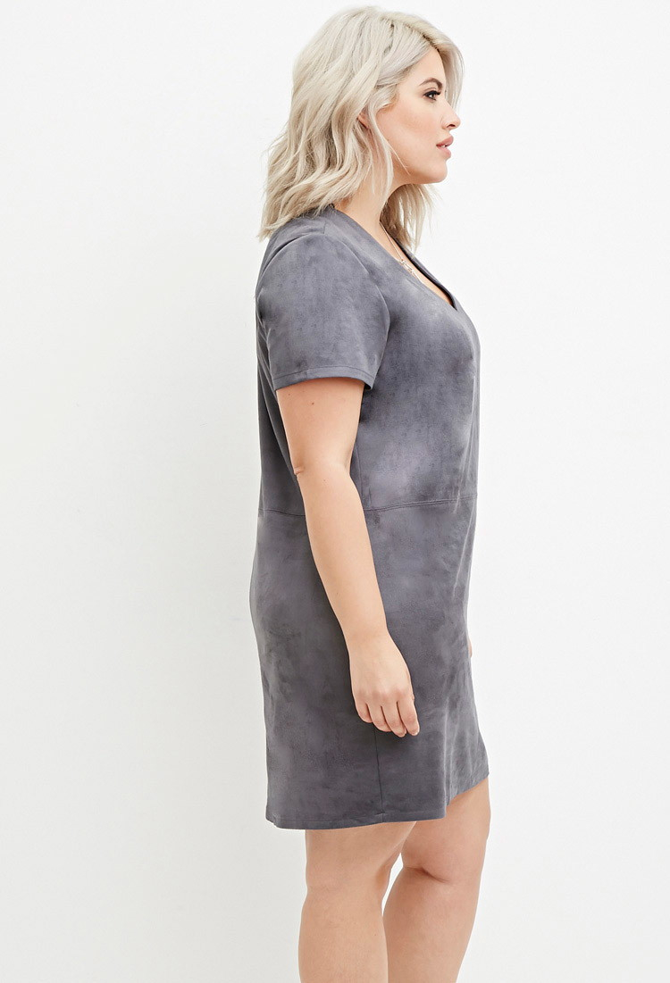 Plus Size Suede Dress