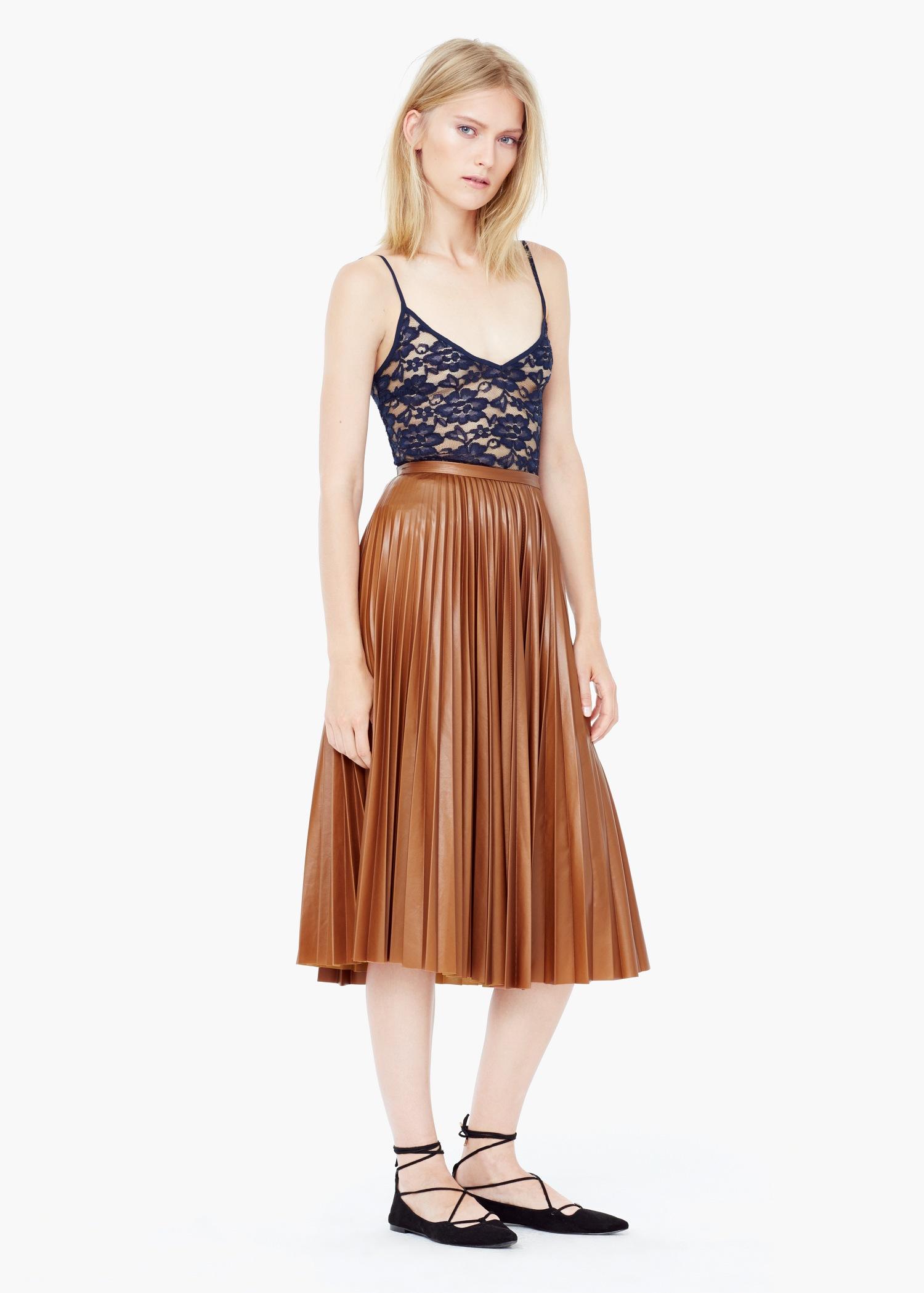 Mango Pleated Midi Skirt in Brown | Lyst