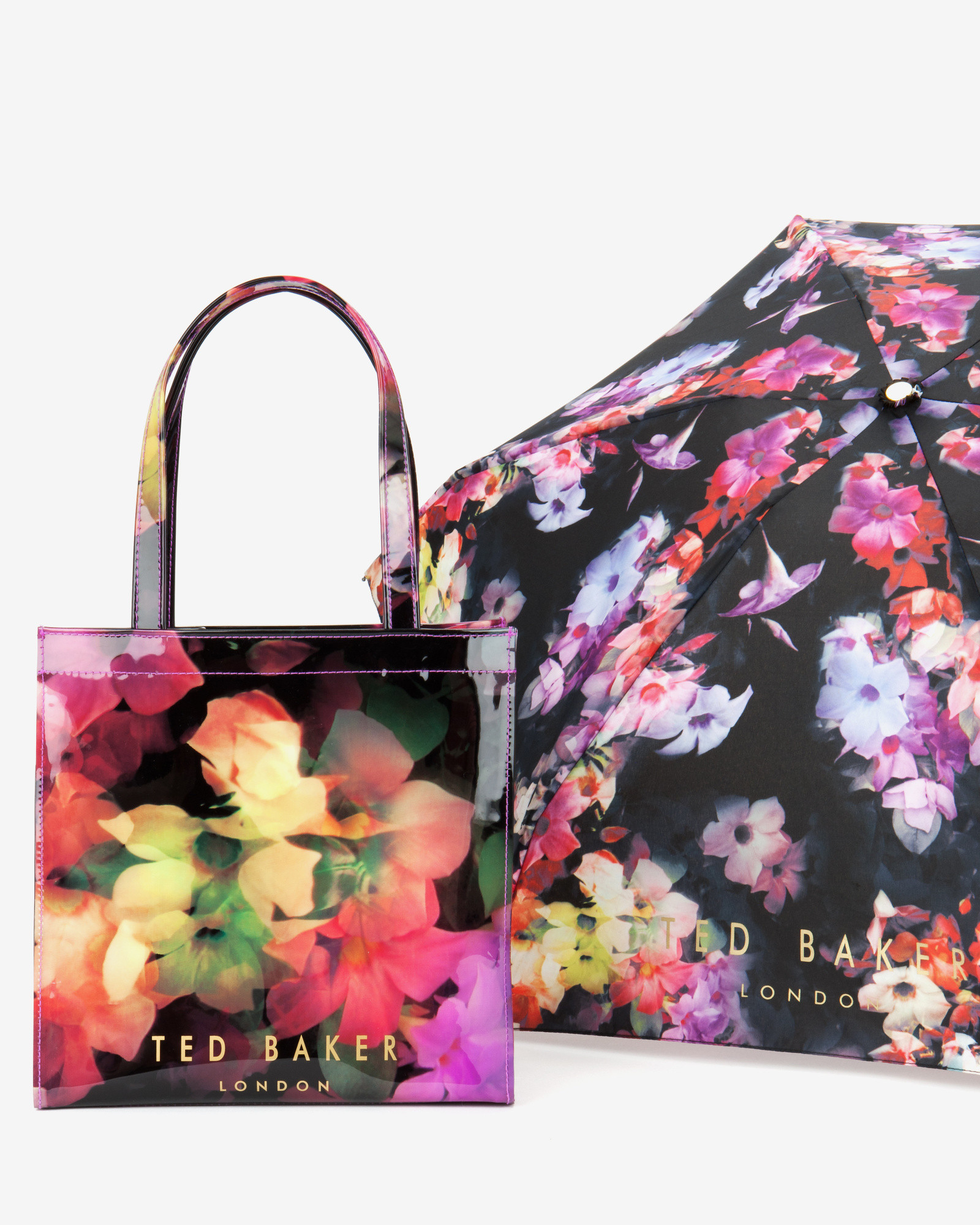 cf8b23f346e1 Ted Baker Cascading Floral Umbrella Set in Black - Lyst