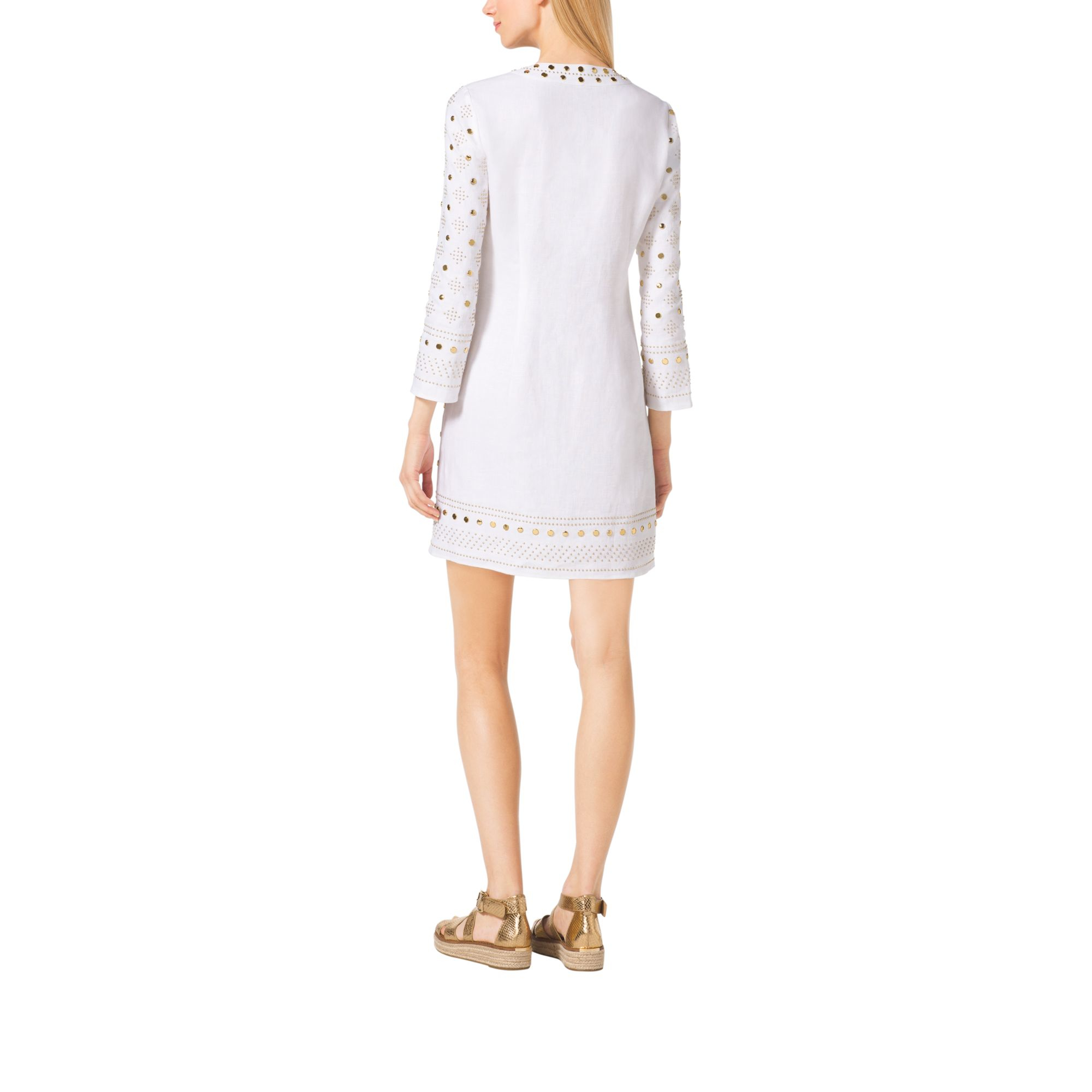 8b3723e3035 Lyst - Michael Kors Embroidered Linen Tunic in White
