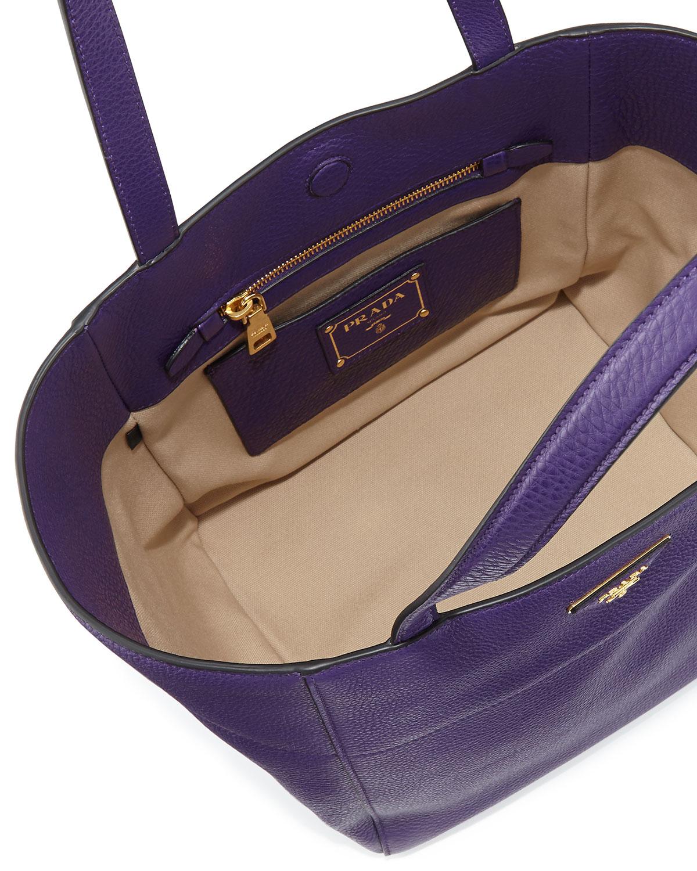 c29a4074c566 Prada Vitello Daino Shopper Bag in Purple - Lyst