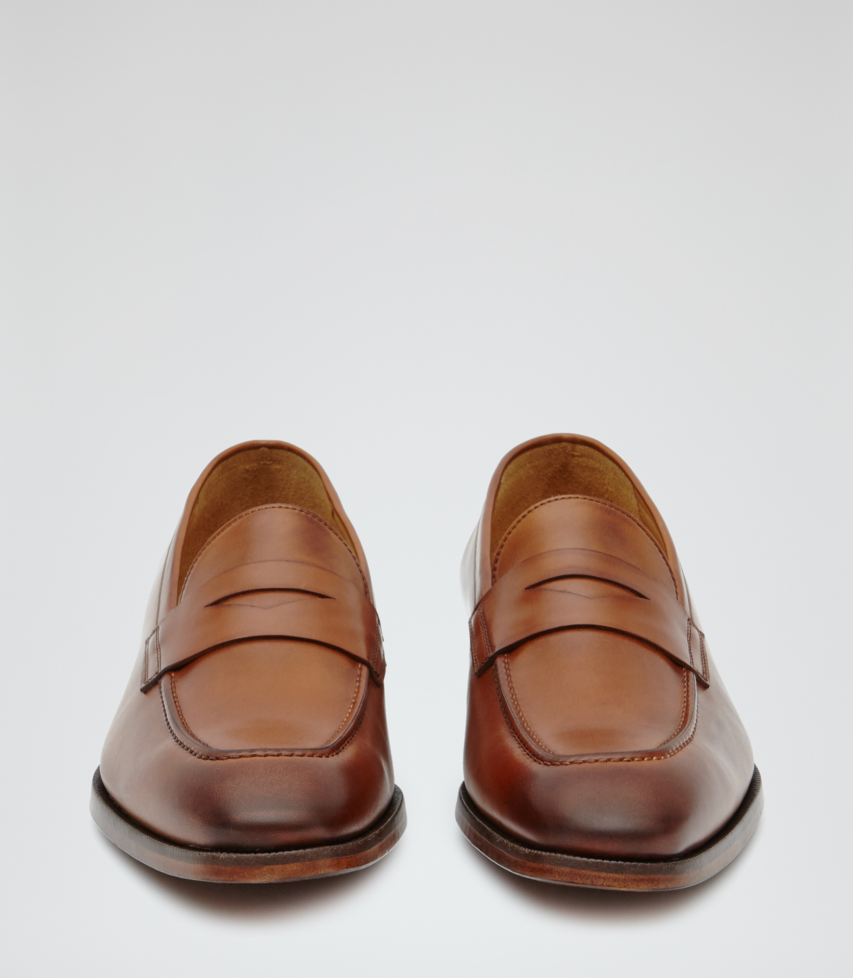 4f736e5964d Lyst - Reiss Cent Leather Penny Loafers in Brown for Men
