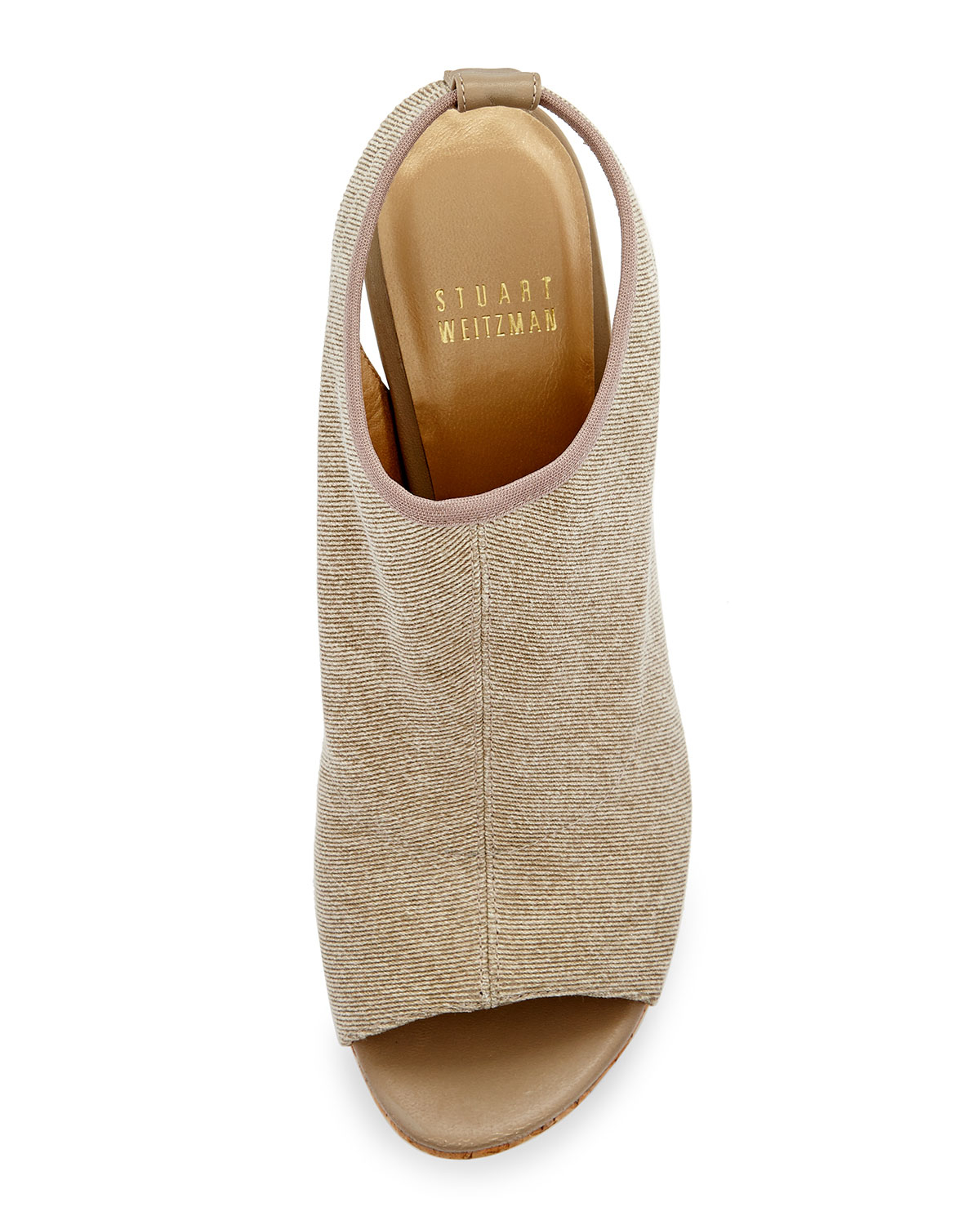 Lyst Stuart Weitzman Glover Stretch Wedge Sandal In Natural
