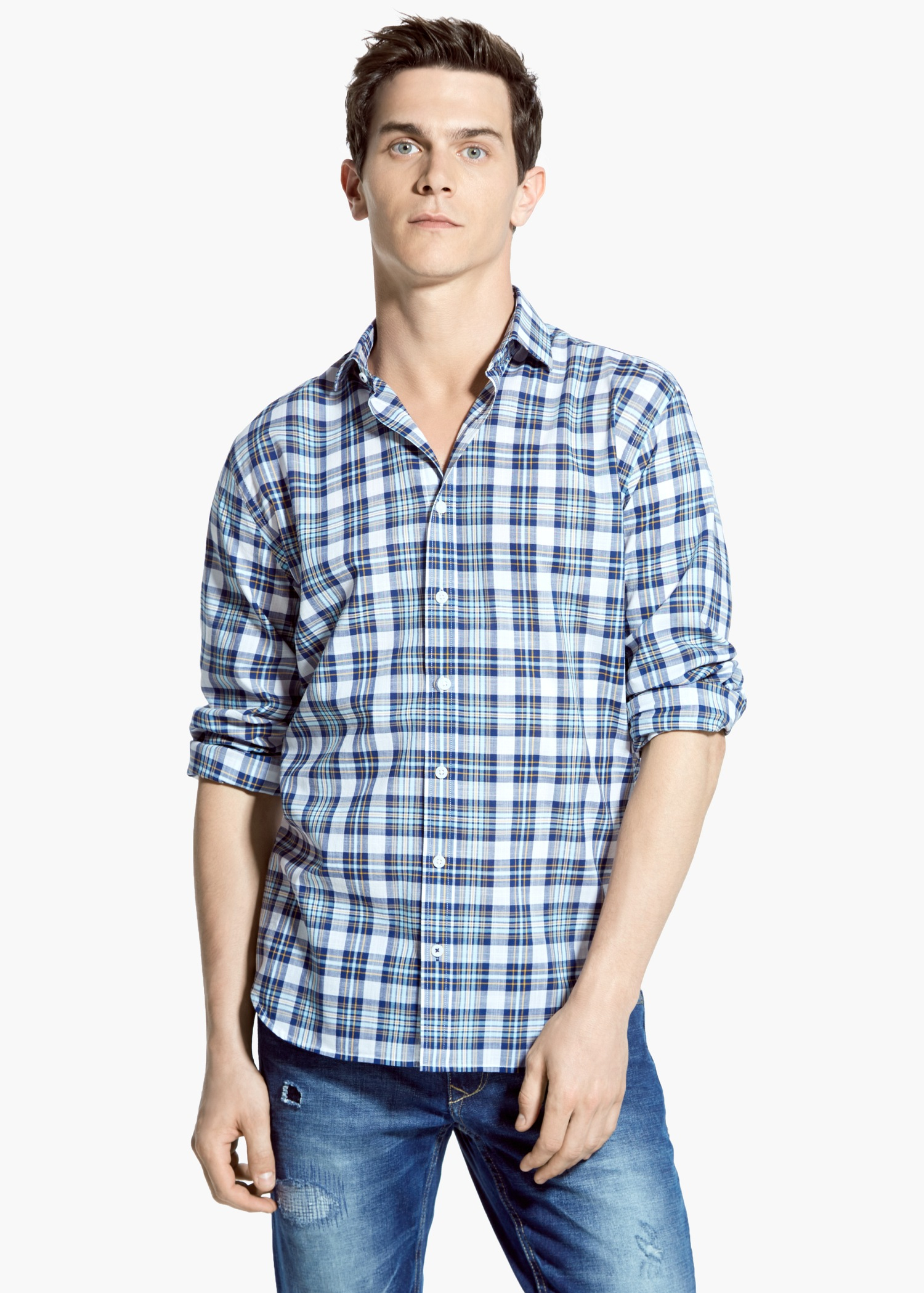 Mango slim fit madras check shirt in blue for men lyst for Slim fit check shirt